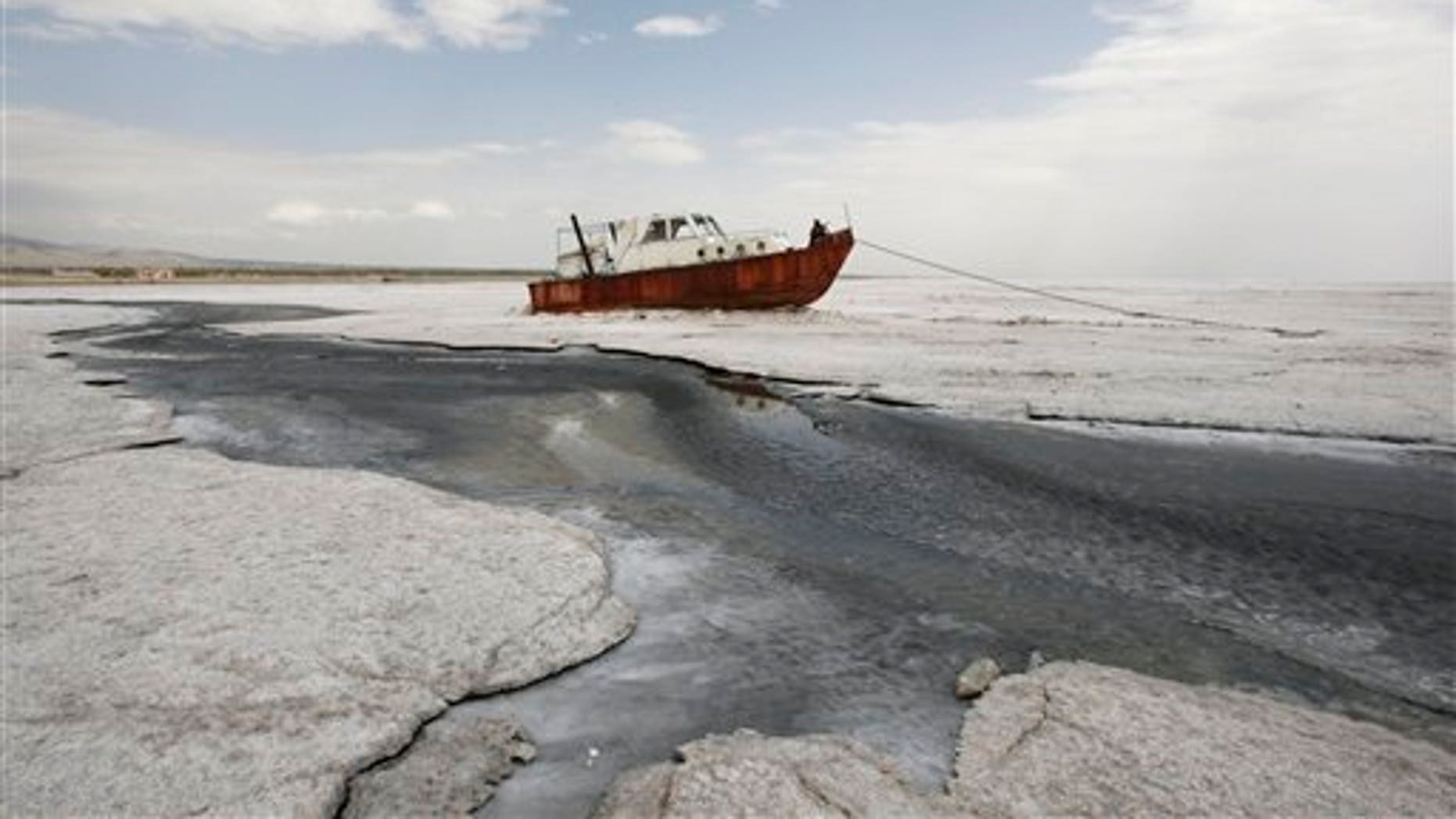 April 29: An abandoned boat is stuck in the solidified salts of the Oroumieh Lake, some 370 miles northwest of the capital Tehran, Iran.