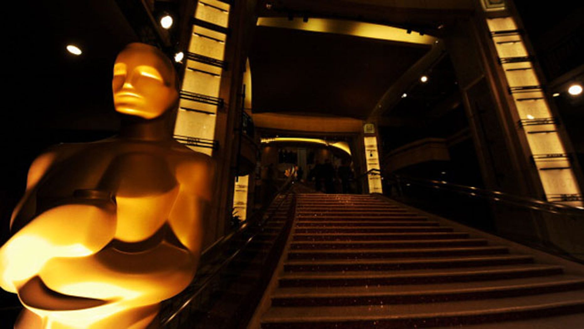 The Oscar statue is seen at the entrance of the Hollywood & Highland Center.