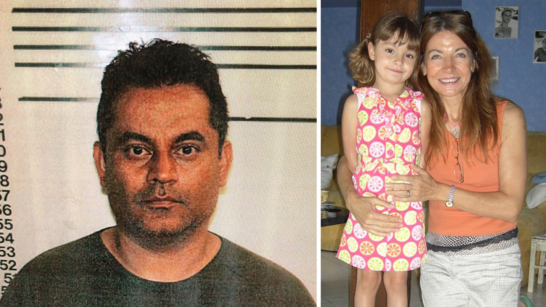 Mugshot for Oscar Lozado. Sylviana Fink with her daughter Angelina.