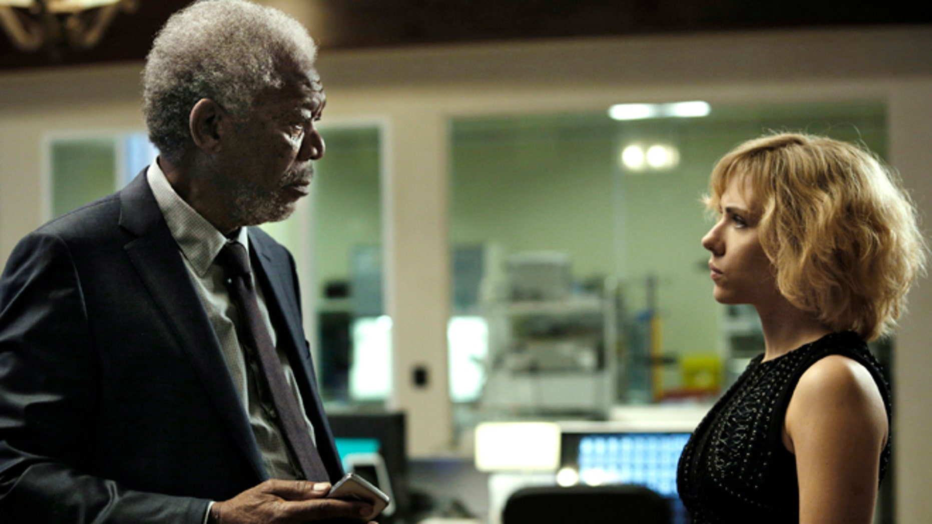 """Morgan Freeman and Scarlett Johansson in a scene from """"Lucy."""""""