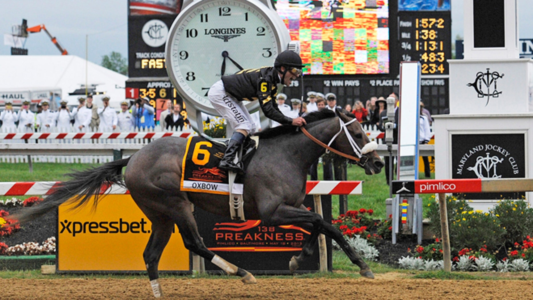 May 18, 2013: Oxbow, ridden by jockey Gary Stevens, wins the 138th Preakness Stakes horse race at Pimlico Race Course in Baltimore.