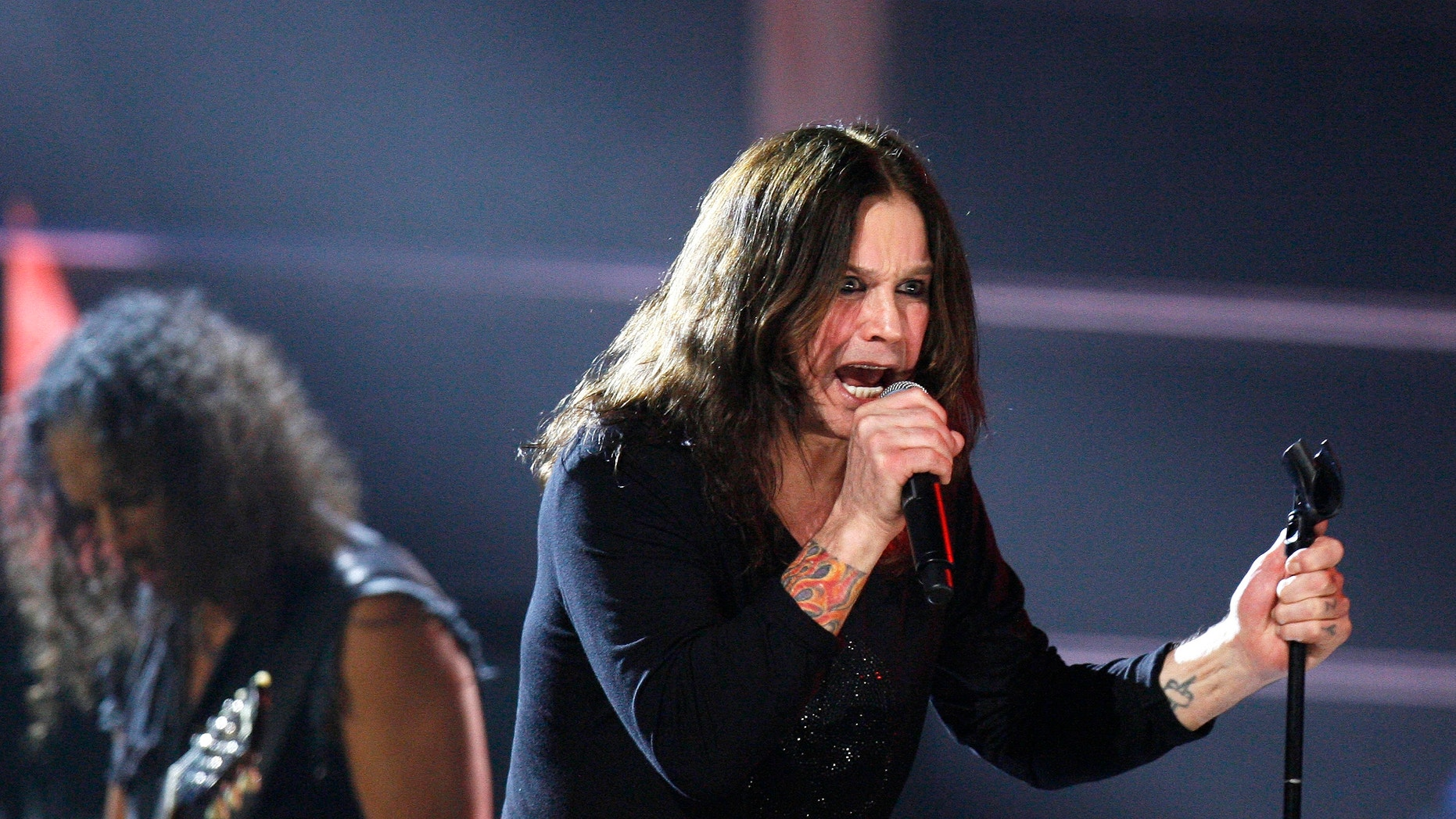 Ozzy Osbourne performs with the band Metallica during the second of two 25th Anniversary Rock & Roll Hall of Fame concerts in New York on October 30, 2009.