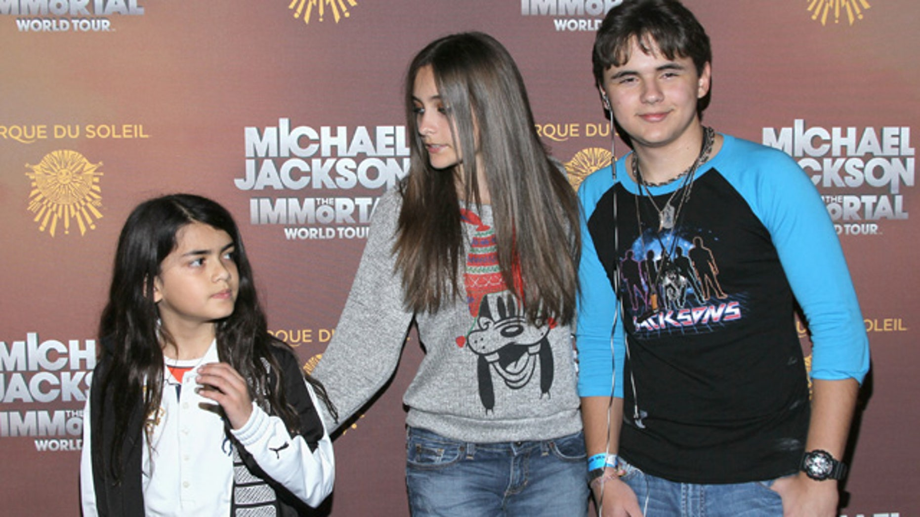 LOS ANGELES, CA - JANUARY 27:  (L-R) Blanket Jackson, Paris Jackson and Prince Jackson attend the Los Angeles premiere of Michael Jackson 'THE IMMORTAL' World Tour at Staples Center on January 27, 2012 in Los Angeles, California.  (Photo by Mark Davis/Getty Images)