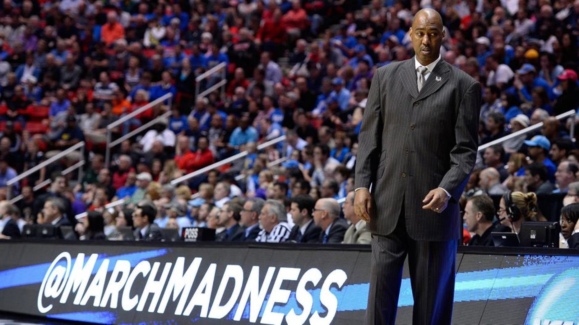 Mar 21, 2014; San Diego, CA, USA; Tulsa Golden Hurricane head coach Danny Manning in the first half of a men's college basketball game during the second round of the 2014 NCAA Tournament against the UCLA Bruins at Viejas Arena. Mandatory Credit: Christopher Hanewinckel-USA TODAY Sports