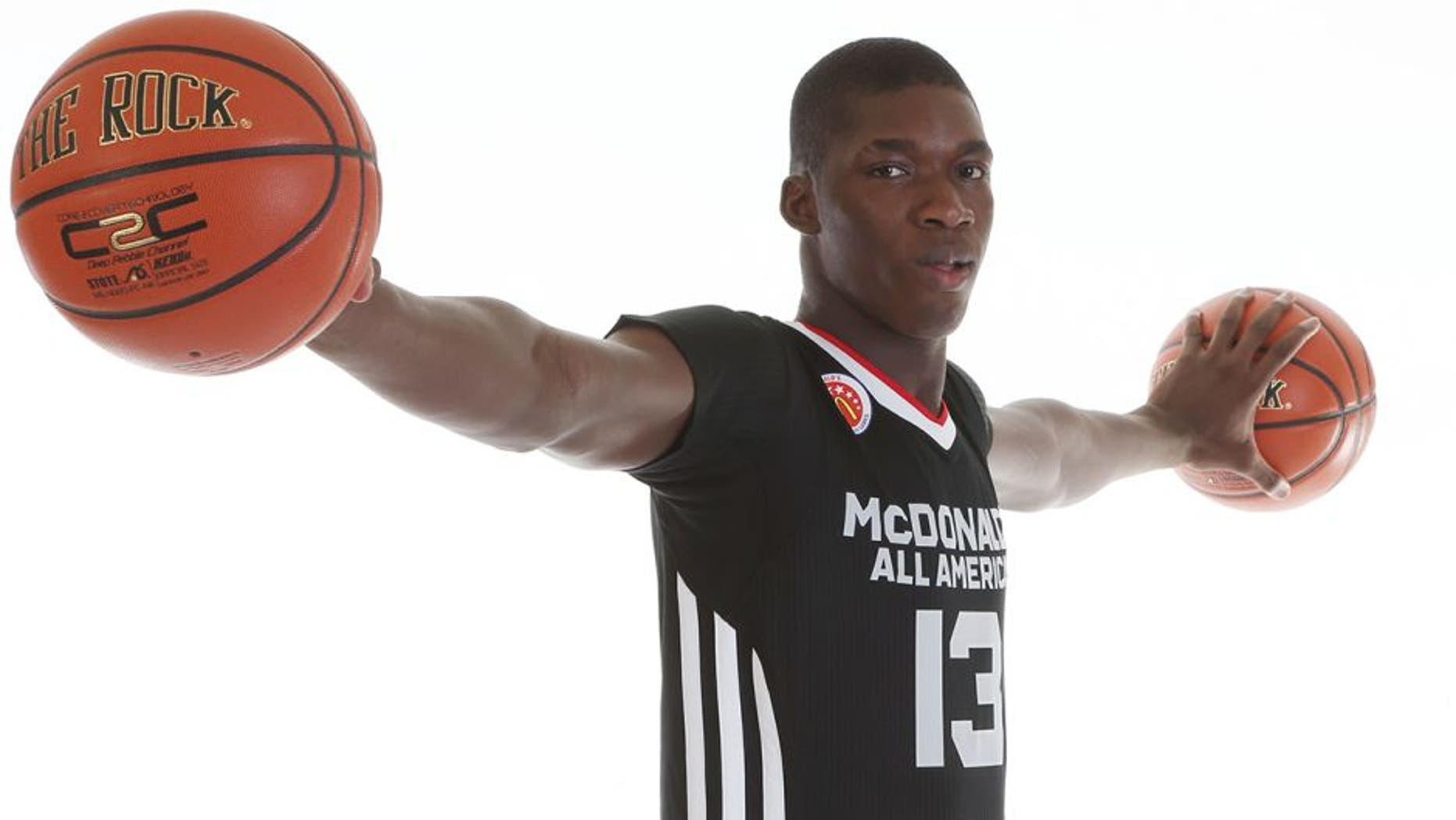 Mar 28, 2015; Chicago, IL, USA; McDonalds High School All American athlete Cheick Diallo (13) poses for pictures during portrait day at the Westin Hotel. Mandatory Credit: Brian Spurlock-USA TODAY Sports