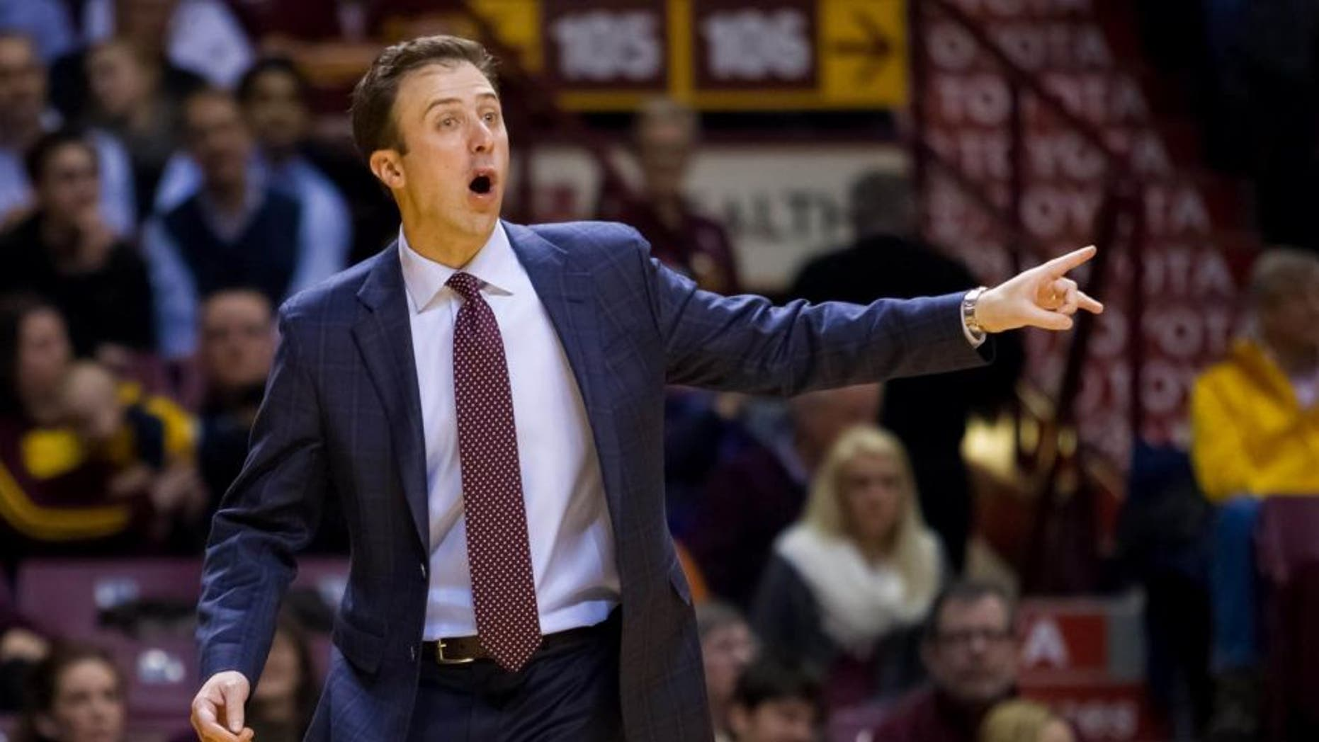 Feb 18, 2015; Minneapolis, MN, USA; Minnesota Gophers head coach Richard Pitino in the first half against the Northwestern Wildcats at Williams Arena.