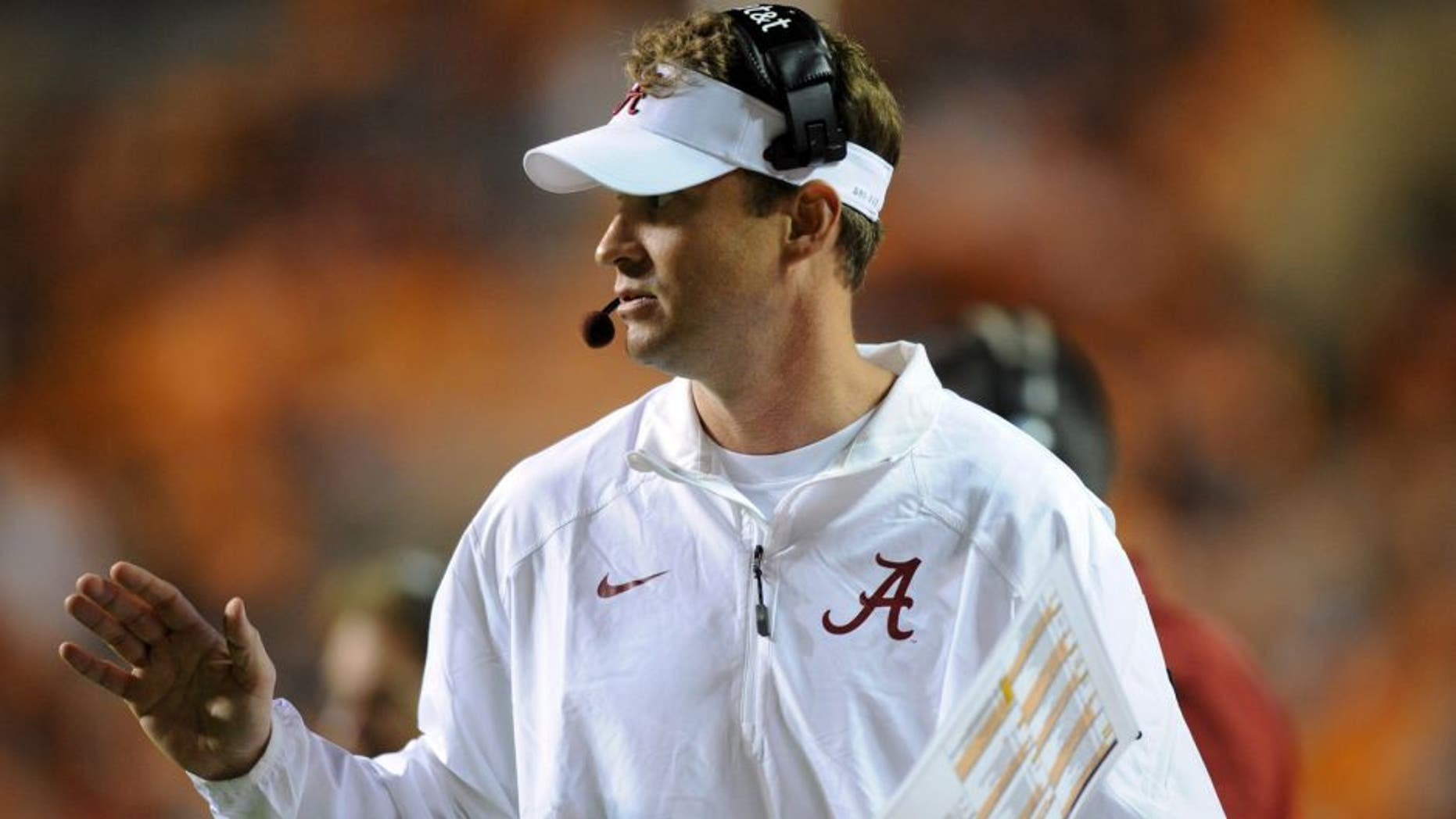 Oct 25, 2014; Knoxville, TN, USA; Alabama Crimson Tide offensive coordinator Lane Kiffin during the second half against the Tennessee Volunteers at Neyland Stadium. Alabama won 34 to 20. Mandatory Credit: Randy Sartin-USA TODAY Sports