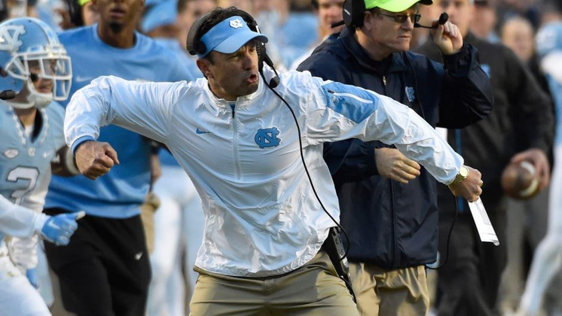 Nov 14, 2015; Chapel Hill, NC, USA; North Carolina Tar Heels head coach Larry Fedora reacts in the second quarter at Kenan Memorial Stadium. Mandatory Credit: Bob Donnan-USA TODAY Sports