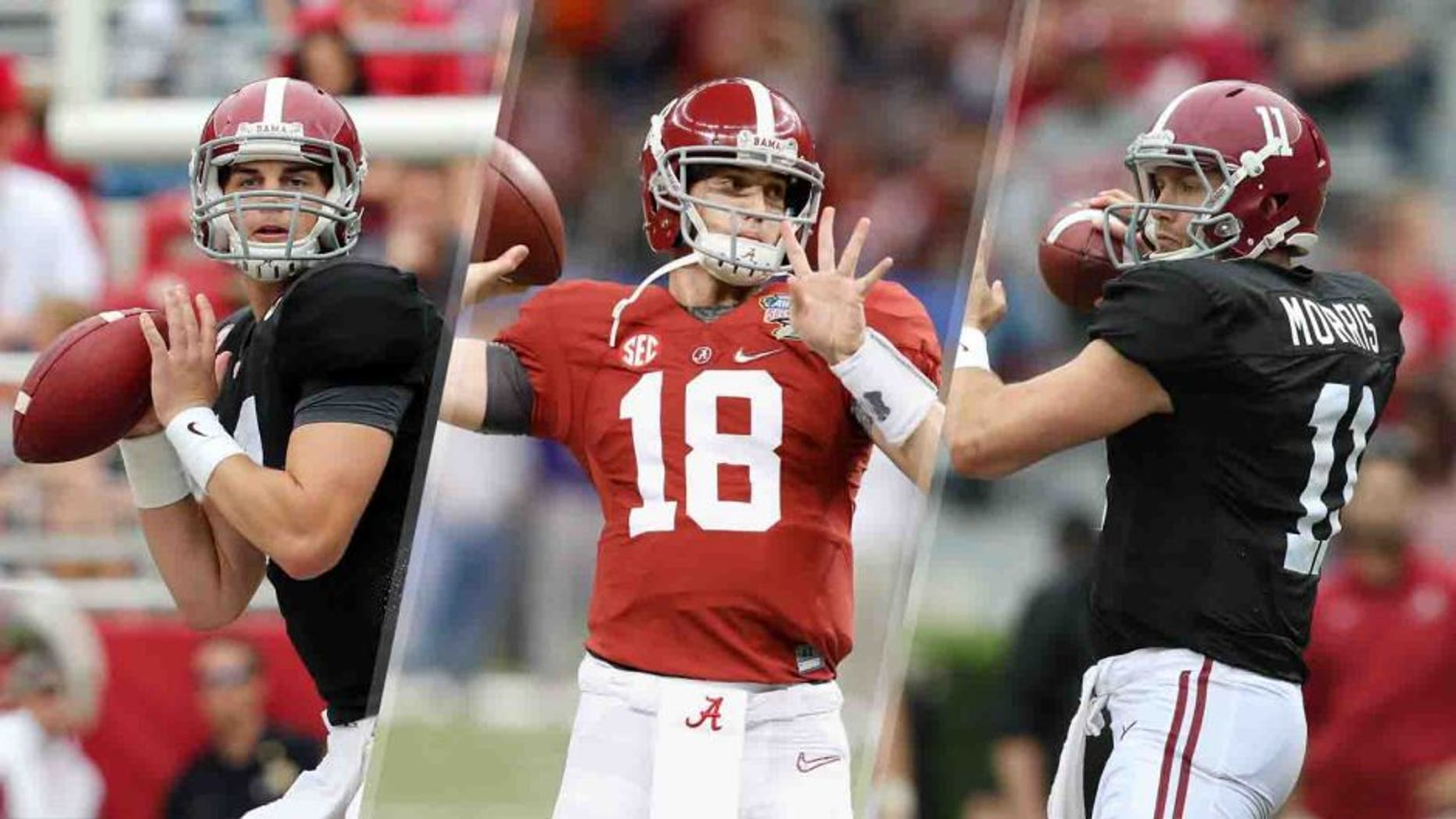 With the Badgers coming to visit Saturday, the Crimson Tide still have three different quarterbacks sharing the No. 1 spot on the depth chart: Jake Coker (left), Cooper Bateman (center) and Alec Morris.