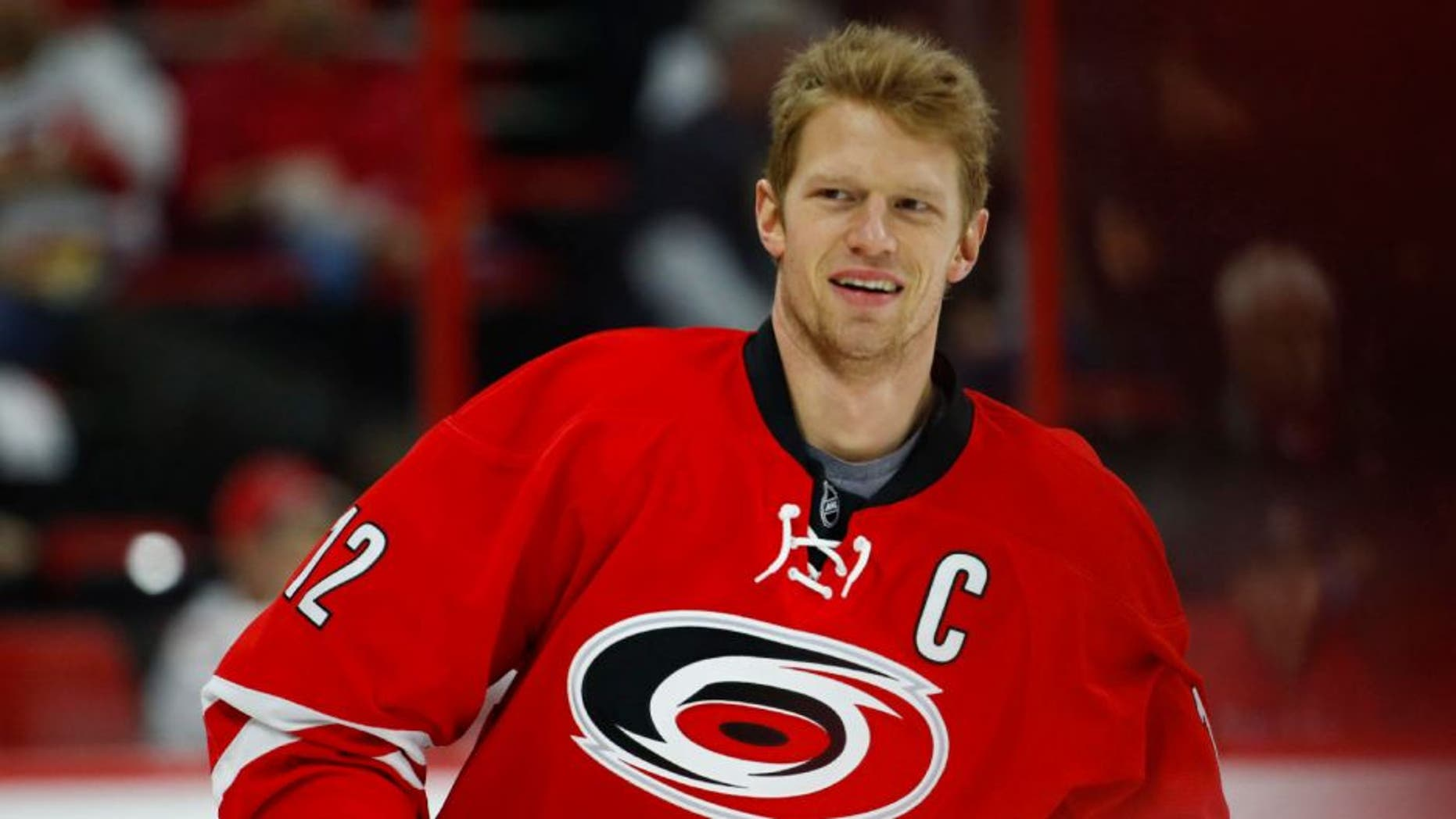 Carolina Hurricanes forward Eric Staal smiles prior to the game against the Boston Bruins.
