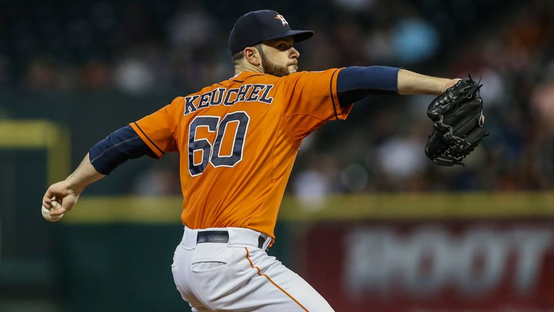 May 15, 2015; Houston, TX, USA; Houston Astros starting pitcher Dallas Keuchel (60) pitches during the third inning against the Toronto Blue Jays at Minute Maid Park. Mandatory Credit: Troy Taormina-USA TODAY Sports