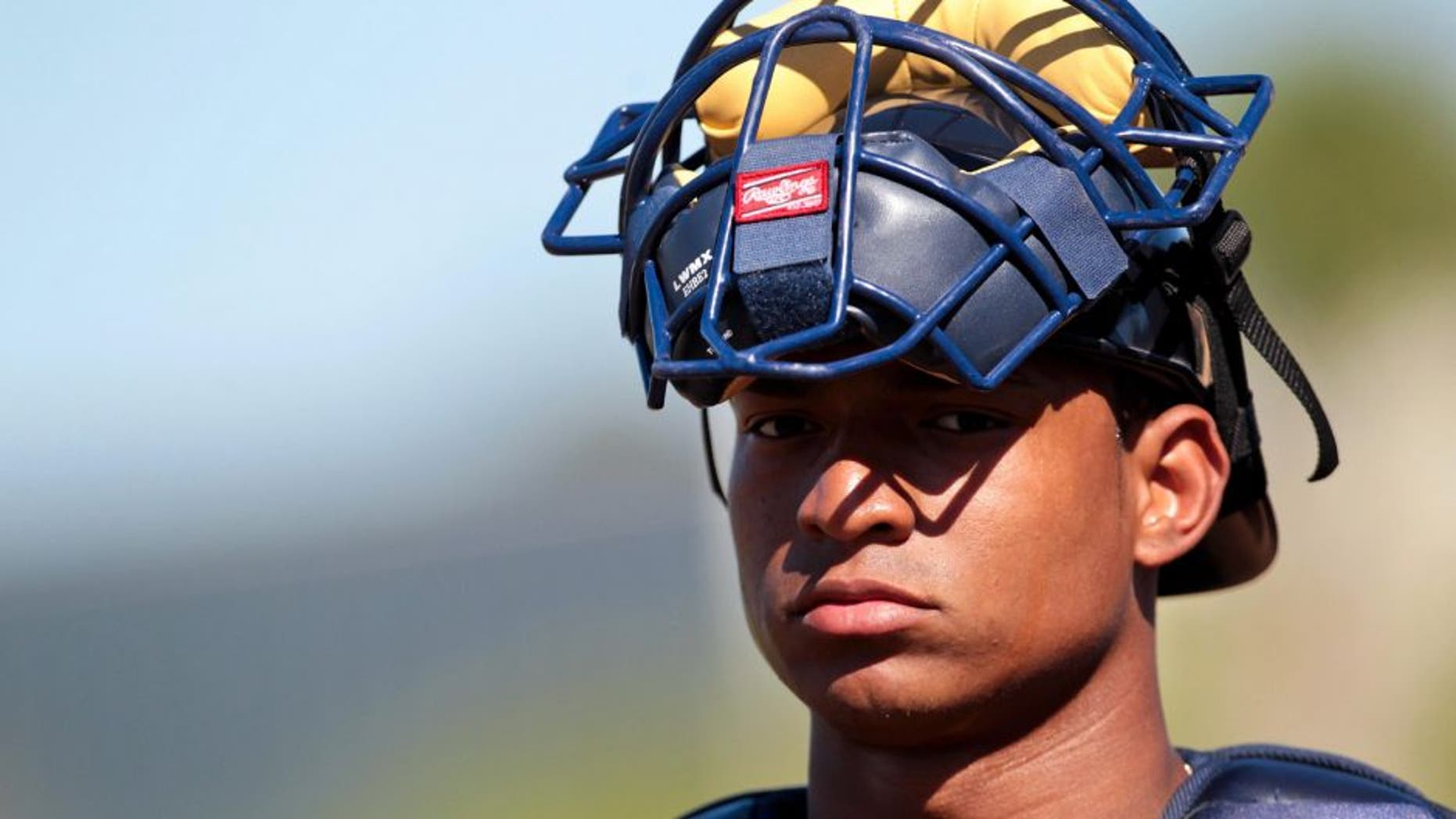 March 5, 2012; Kissimmee, FL, USA; Atlanta Braves catcher Christian Bethancourt (68) in the game against the Houston Astros at Osceola County Stadium. Mandatory Credit: Daniel Shirey-USA TODAY Sports