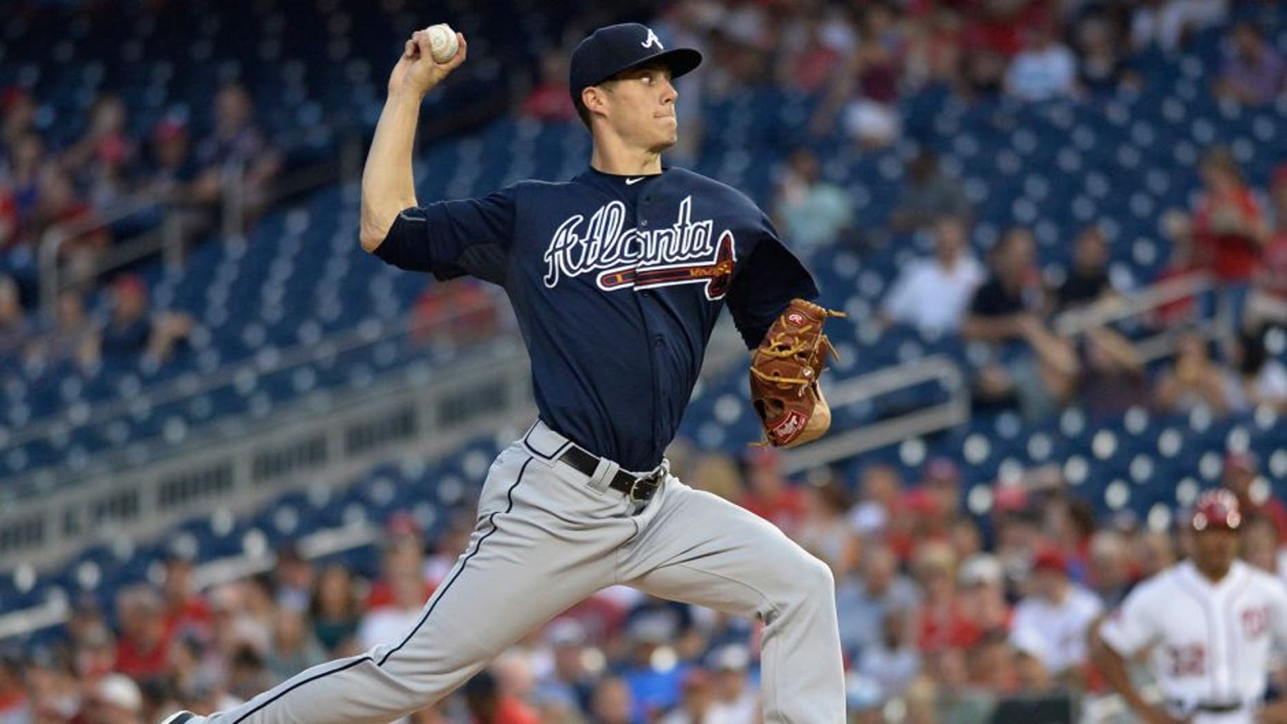 Sep 3, 2015; Washington, DC, USA; Atlanta Braves starting pitcher Matt Wisler (37) pitches during the first inning against the Washington Nationals at Nationals Park. Mandatory Credit: Tommy Gilligan-USA TODAY Sports