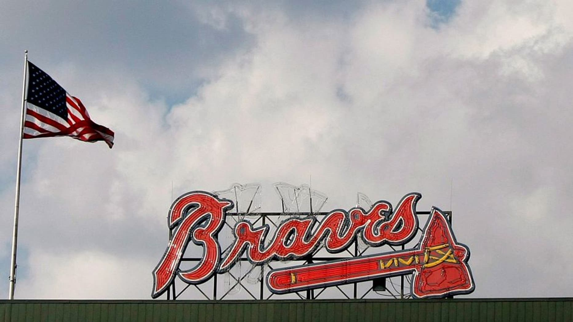 Aug 9, 2015; Atlanta, GA, USA; A general view of the American Flag flying in the sky over Turner Field during the fourth inning of a game between the Atlanta Braves and Miami Marlins. Mandatory Credit: Brett Davis-USA TODAY Sports