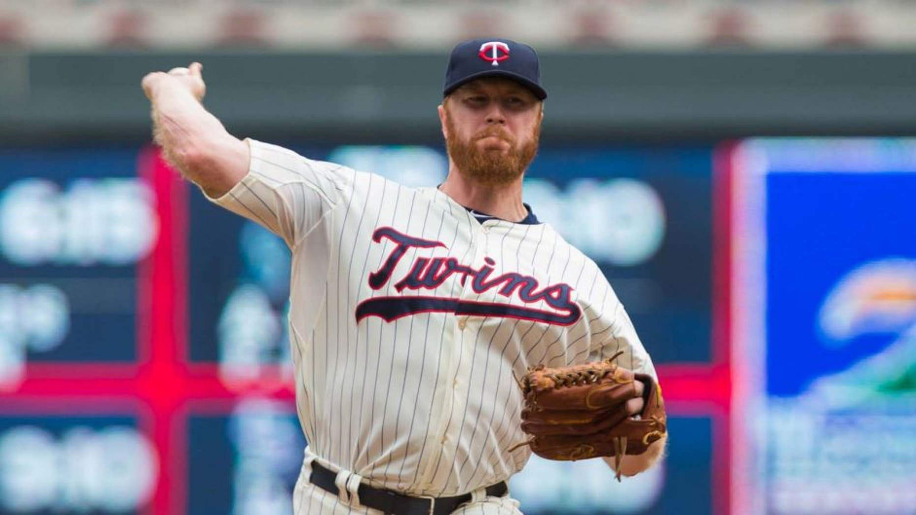 Jun 6, 2015; Minneapolis, MN, USA; Minnesota Twins relief pitcher Blaine Boyer pitches in the seventh inning against the Milwaukee Brewers at Target Field. The Milwaukee Brewers beat the Minnesota Twins 4-2.