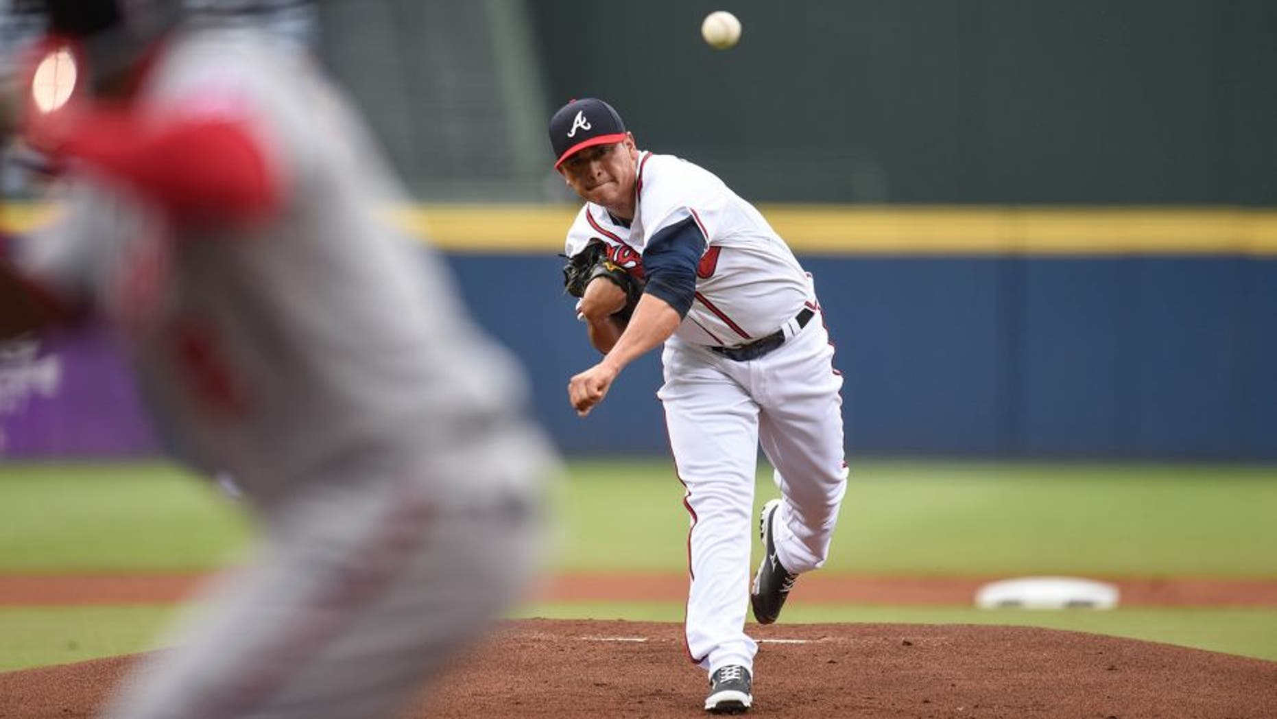 Jul 2, 2015; Atlanta, GA, USA; Atlanta Braves starting pitcher Manny Banuelos (60) pitches against the Washington Nationals during the first inning at Turner Field. Mandatory Credit: Dale Zanine-USA TODAY Sports