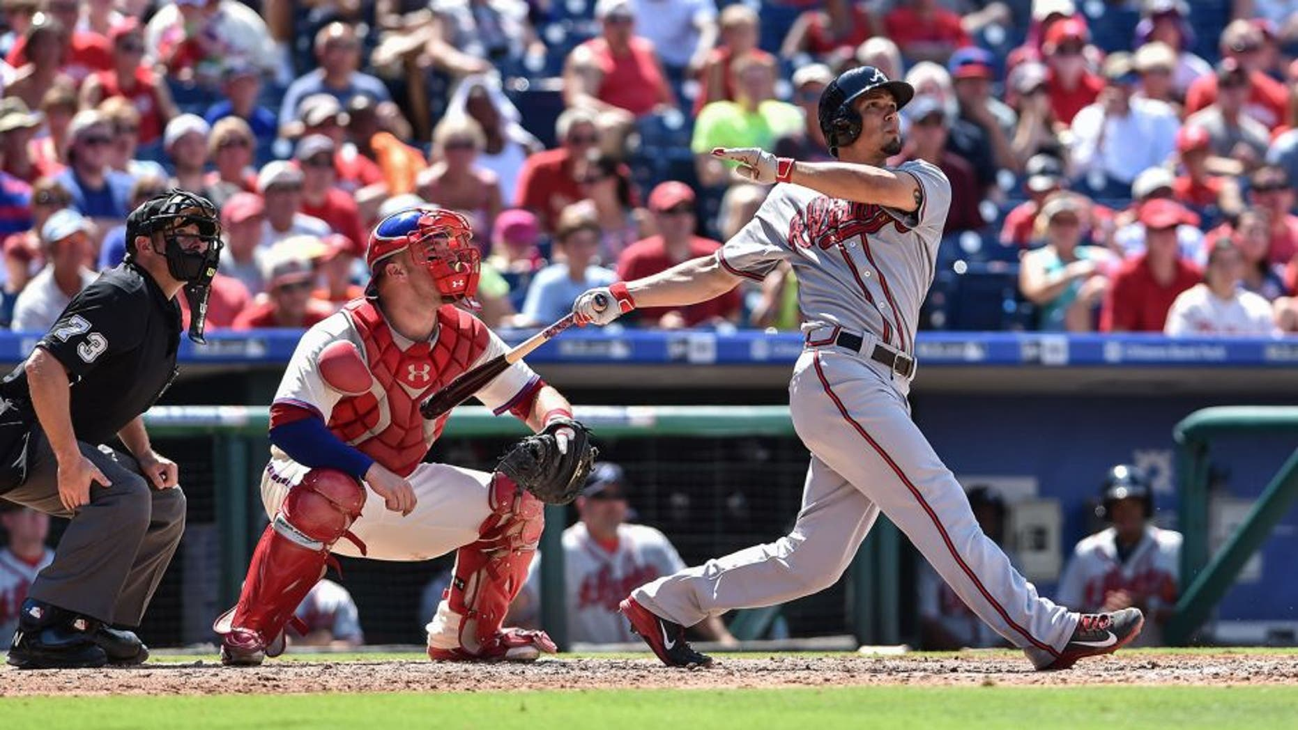 Aug 2, 2015; Philadelphia, PA, USA; Atlanta Braves second baseman Jace Peterson (8) hits a three run homer to right field during the fifth inning of the game against the Philadelphia Phillies at Citizens Bank Park. Mandatory Credit: John Geliebter-USA TODAY Sports