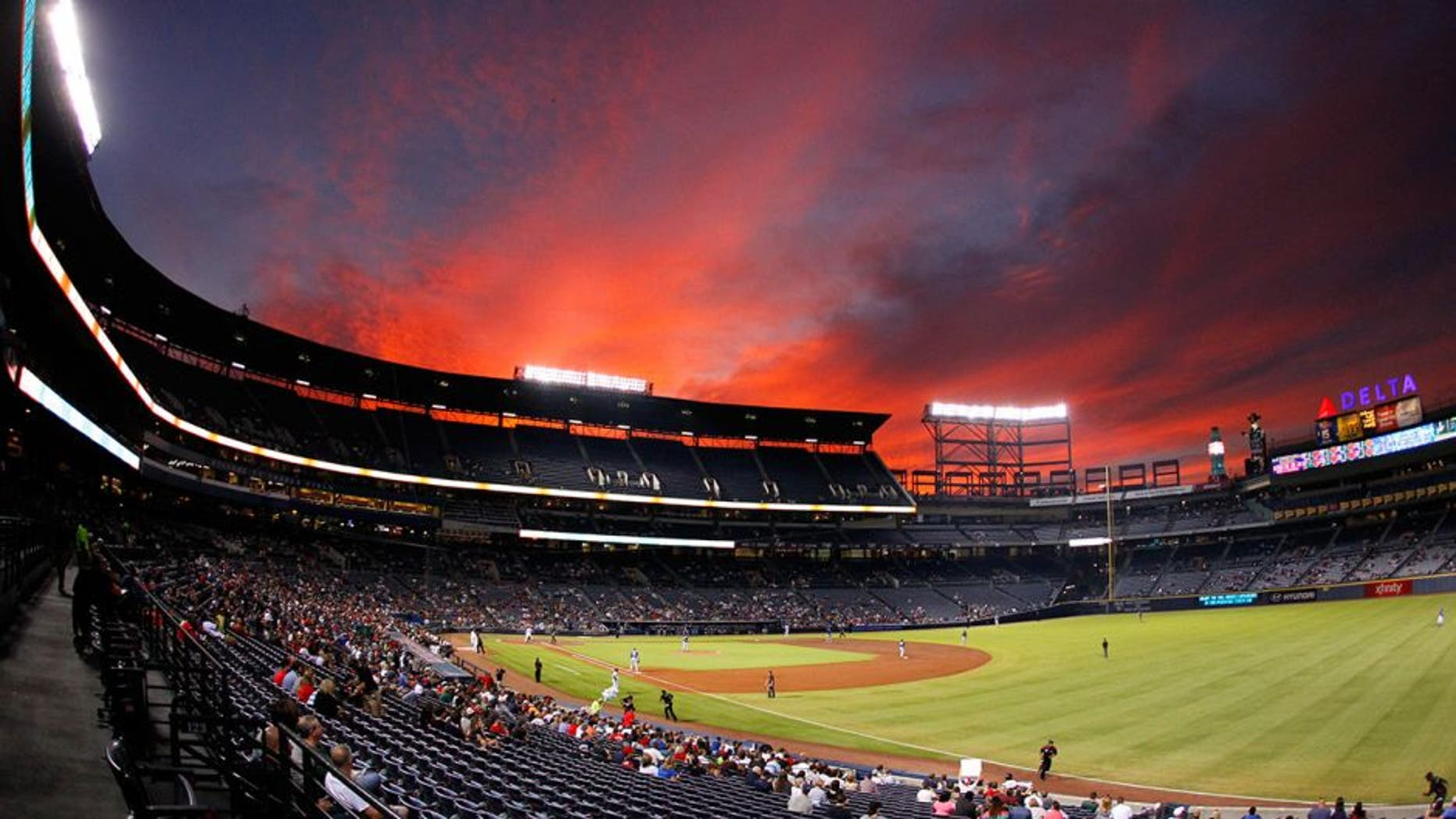 Sep 15, 2015; Atlanta, GA, USA; A general view of the sunset at Turner Field during the third inning of the game between the Atlanta Braves and the Toronto Blue Jays. Mandatory Credit: Brett Davis-USA TODAY Sports