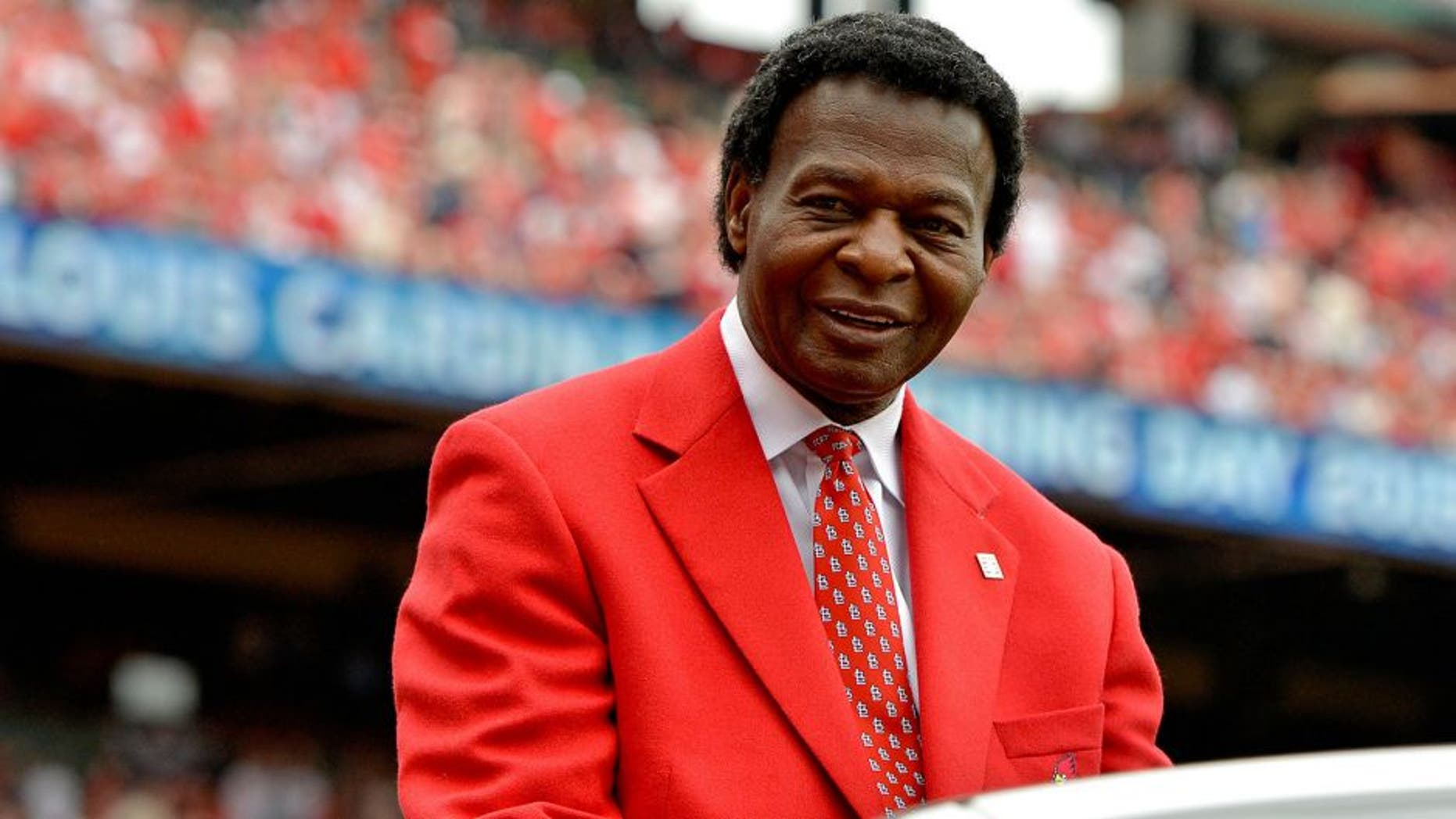 Apr 13, 2015; St. Louis, MO, USA; St. Louis Cardinal former player Lou Brock in attendance for the game between the St. Louis Cardinals and the Milwaukee Brewers at Busch Stadium. Mandatory Credit: Jasen Vinlove-USA TODAY Sports