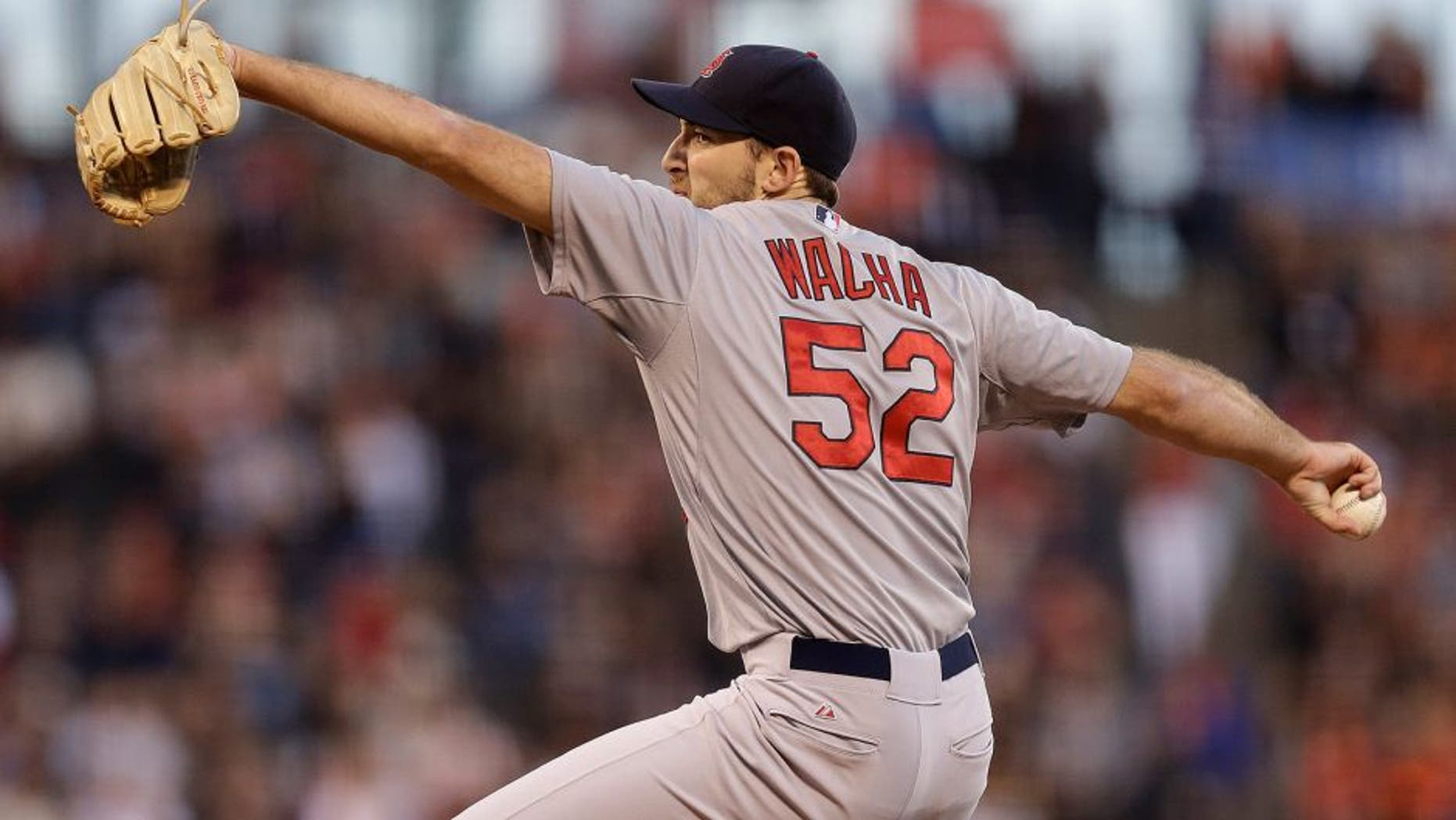 St. Louis Cardinals pitcher Michael Wacha works against the San Francisco Giants during the first inning of a baseball game Friday, Aug. 28, 2015, in San Francisco. (AP Photo/Ben Margot)