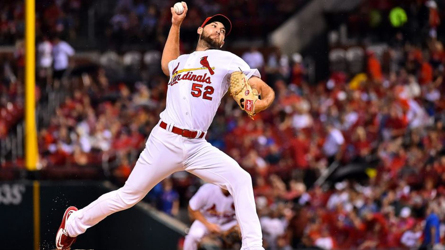 Sep 8, 2015; St. Louis, MO, USA; St. Louis Cardinals starting pitcher Michael Wacha (52) delivers a pitch in the first inning against the Chicago Cubs at Busch Stadium. Mandatory Credit: Jasen Vinlove-USA TODAY Sports