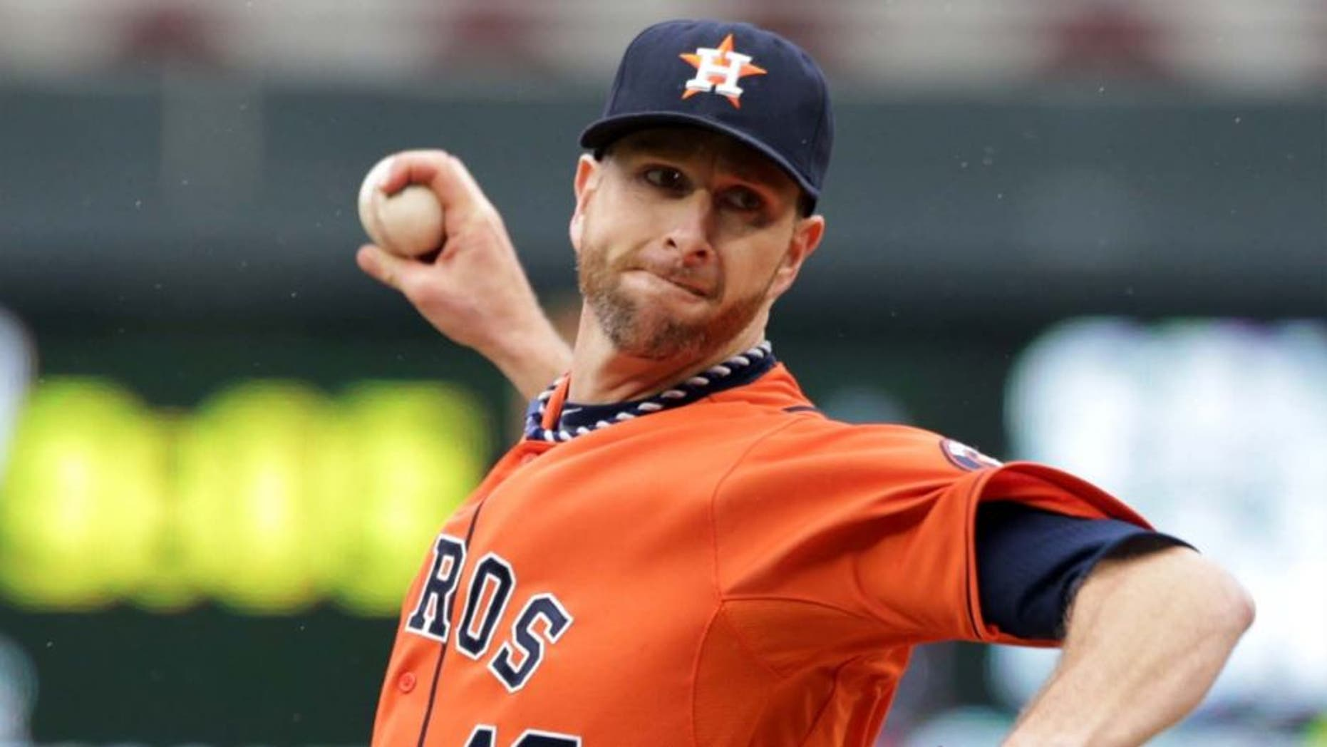 Saturday, June 7: Houston Astros pitcher Scott Feldman throws against the Minnesota Twins in the first inning.