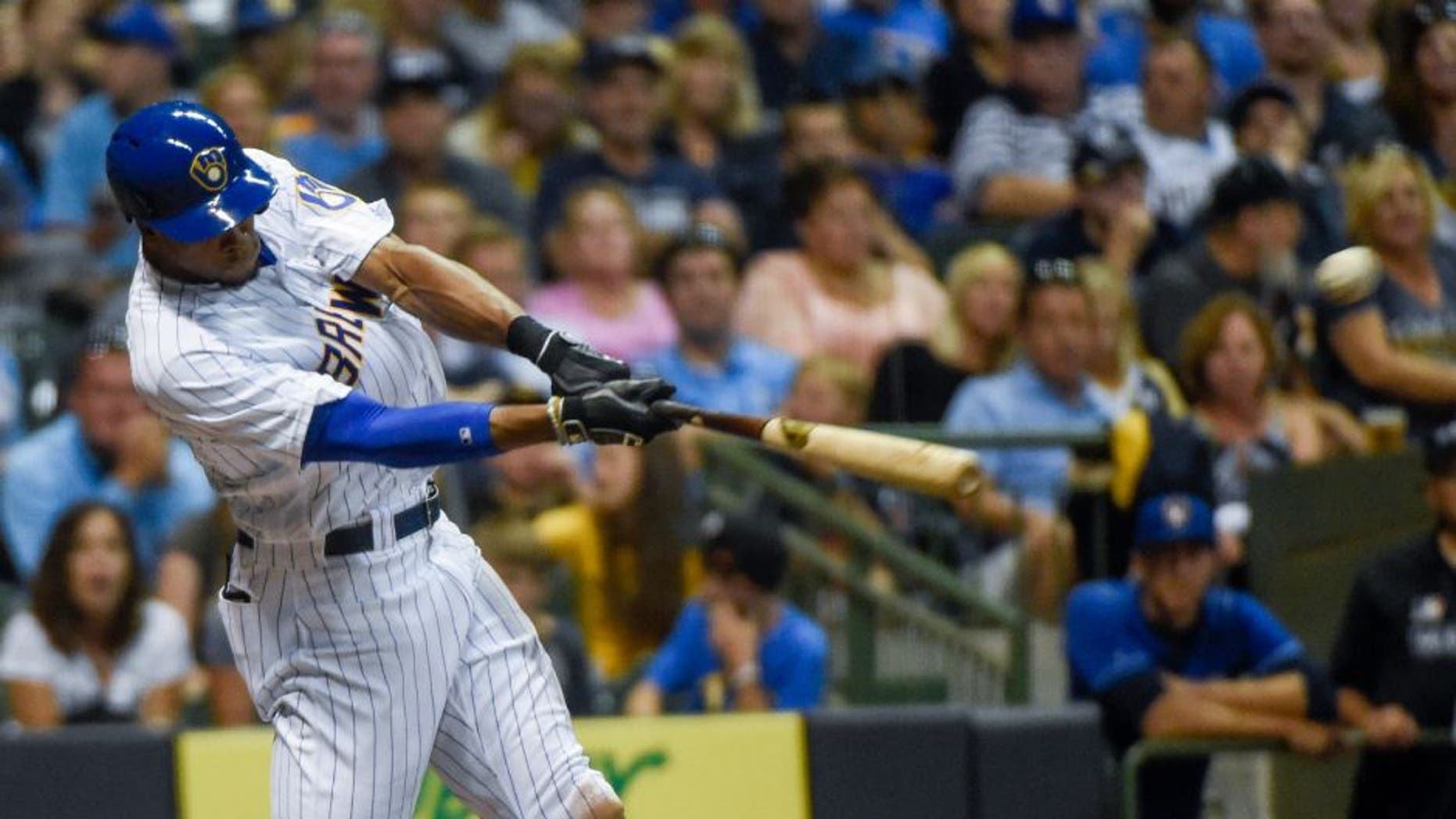 Milwaukee Brewers outfielder Keon Broxton hits an RBI double during the sixth inning against the Pittsburgh Pirates on Friday, July 29.
