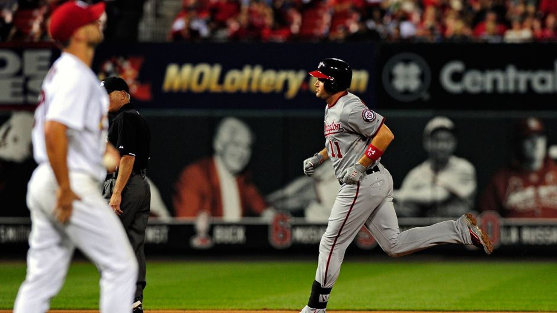 Sep 2, 2015; St. Louis, MO, USA; Washington Nationals first baseman Ryan Zimmerman (11) runs the bases after hitting his second solo home run off of St. Louis Cardinals starting pitcher Tyler Lyons (70) during the sixth inning at Busch Stadium. Mandatory Credit: Jeff Curry-USA TODAY Sports