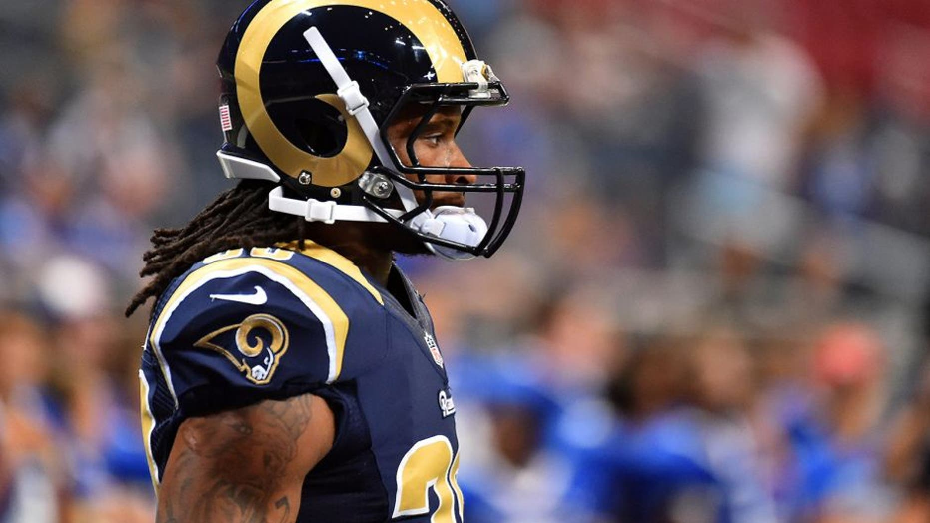 Aug 29, 2015; St. Louis, MO, USA; St. Louis Rams running back Todd Gurley (30) during warmups before the game between the St. Louis Rams and the Indianapolis Colts at the Edward Jones Dome. Mandatory Credit: Jasen Vinlove-USA TODAY Sports