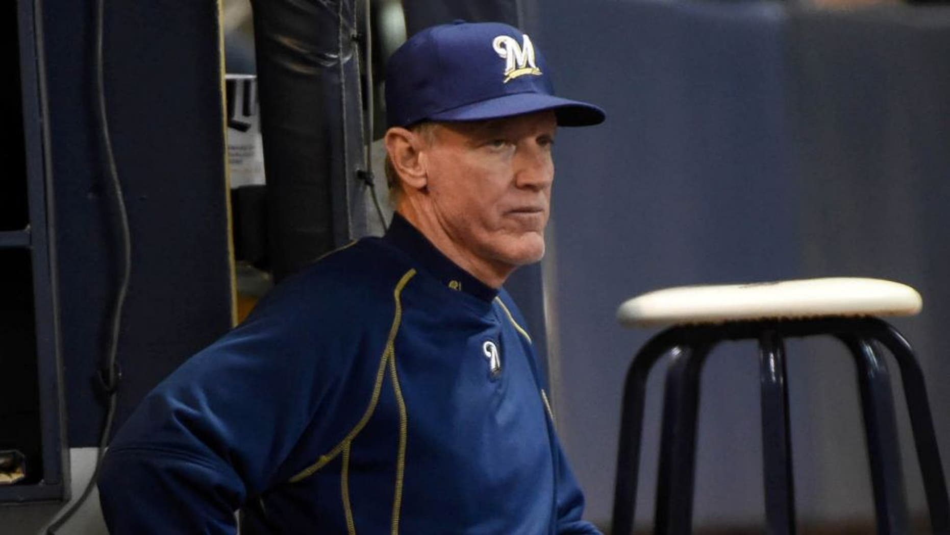 Apr 20, 2015; Milwaukee, WI, USA; Milwaukee Brewers manager Ron Roenicke watches the game against the Cincinnati Reds in the sixth inning at Miller Park.
