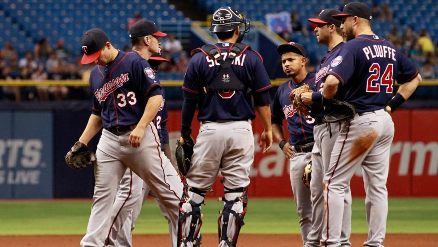 Aug 27, 2015; St. Petersburg, FL, USA; Minnesota Twins starting pitcher Tommy Milone (33) is taken out of the game during the sixth inning against the Tampa Bay Rays at Tropicana Field. Mandatory Credit: Kim Klement-USA TODAY Sports