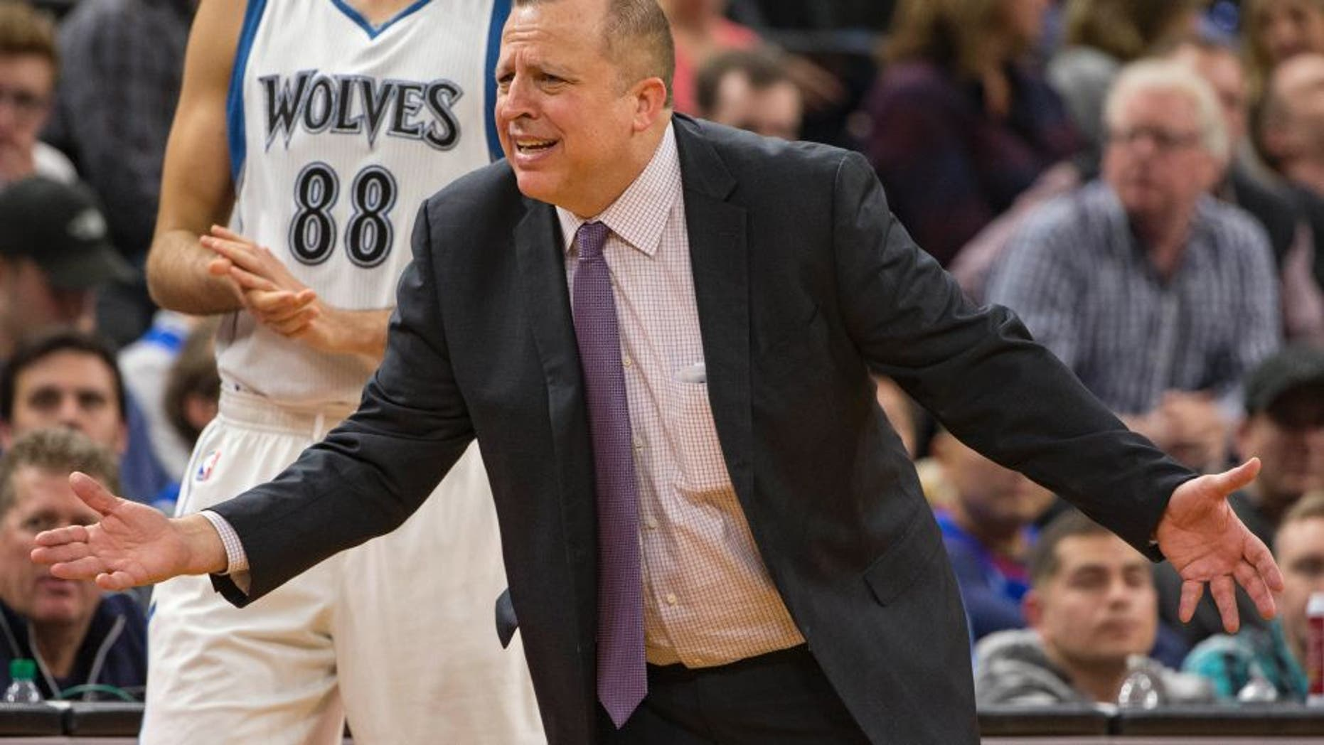 Nov 15, 2016; Minneapolis, MN, USA; Minnesota Timberwolves head coach Tom Thibodeau argues with an official during the second half against the Charlotte Hornets at Target Center. The Hornets won 115-108. Mandatory Credit: Jesse Johnson-USA TODAY Sports