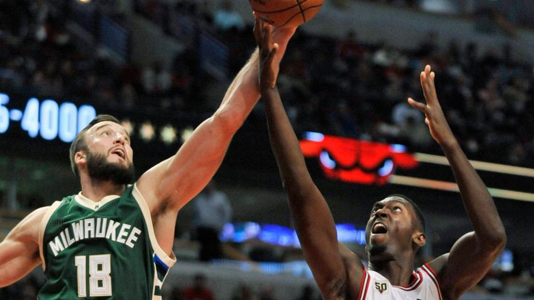 Chicago Bulls' Bobby Portis (5), battles for a rebound against Milwaukee Bucks' Miles Plumlee (18) during the second half of an NBA preseason basketball game Tuesday, Oct. 6, 2015, in Chicago. The Bulls won 105-95. (AP Photo/Paul Beaty)