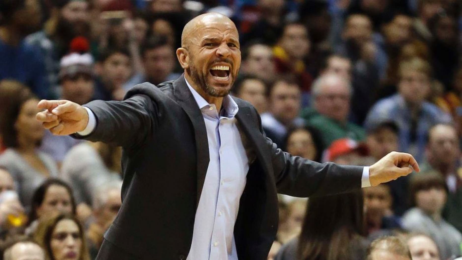 Milwaukee Bucks head coach Jason Kidd yells during the first half of an NBA game against the Cleveland Cavaliers Sunday, March 22, 2015, in Milwaukee.