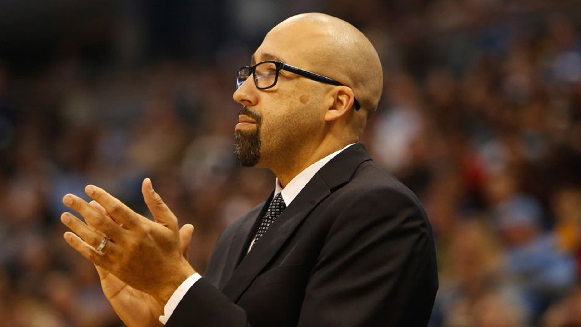 Dec 10, 2014; Denver, CO, USA; Miami Heat assistant head coach David Fizdale during the game against the Denver Nuggets at Pepsi Center. Mandatory Credit: Chris Humphreys-USA TODAY Sports