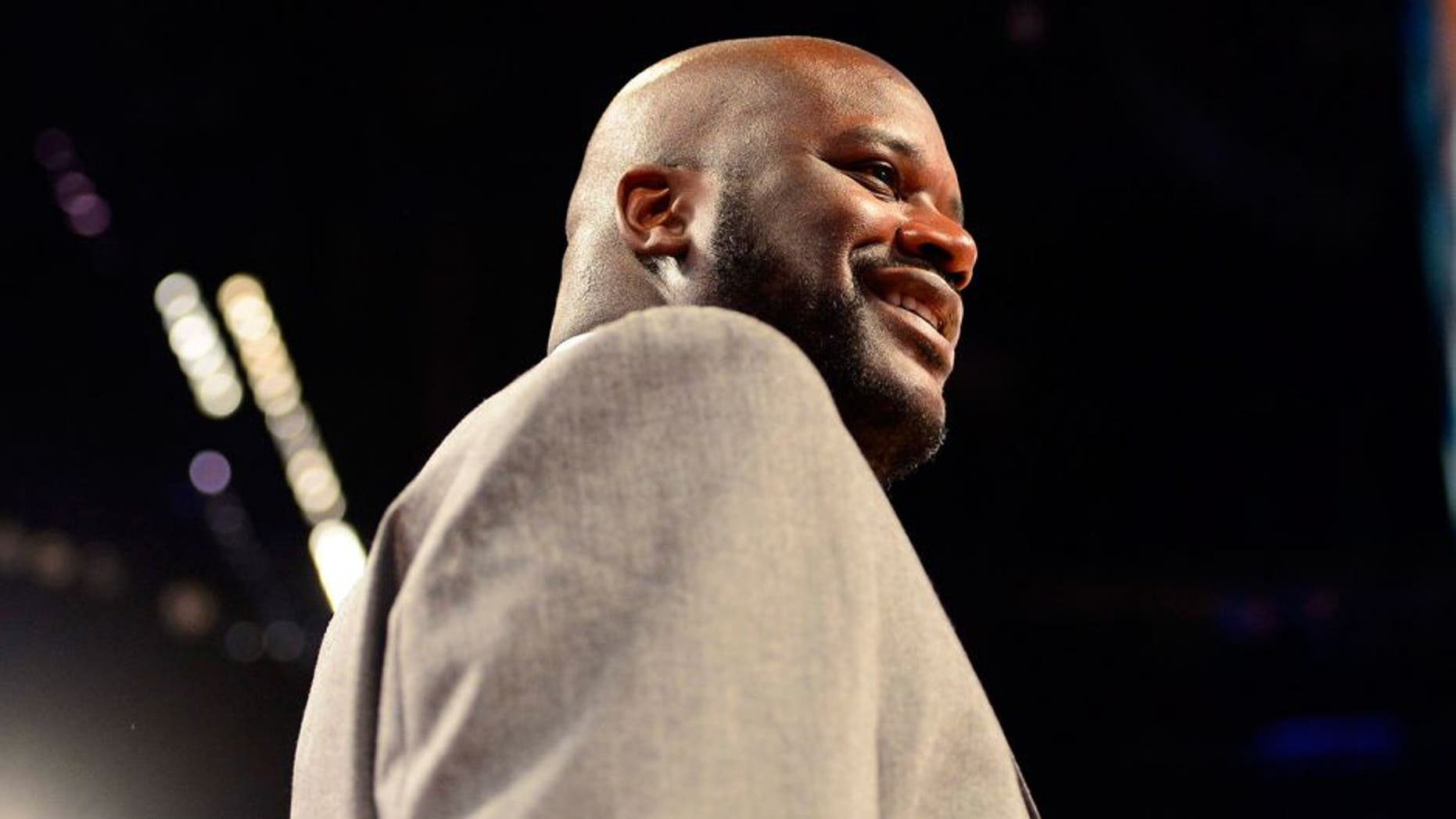 Feb 14, 2014; New Orleans, LA, USA; NBA former player Shaquille O'Neal before the 2014 Rising Stars Challenge at Smoothie King Center. Mandatory Credit: Bob Donnan-USA TODAY Sports