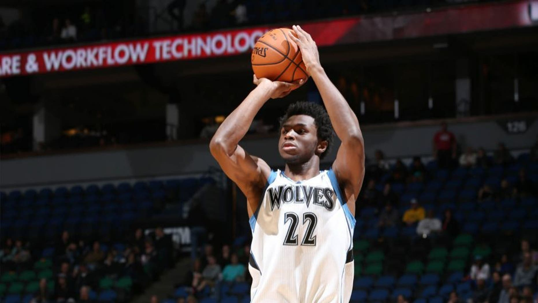 The Minnesota Timberwolves' Andrew Wiggins shoots the ball against the Milwaukee Bucks during a preseason game on Oct. 23, 2015 at Target Center in Minneapolis.