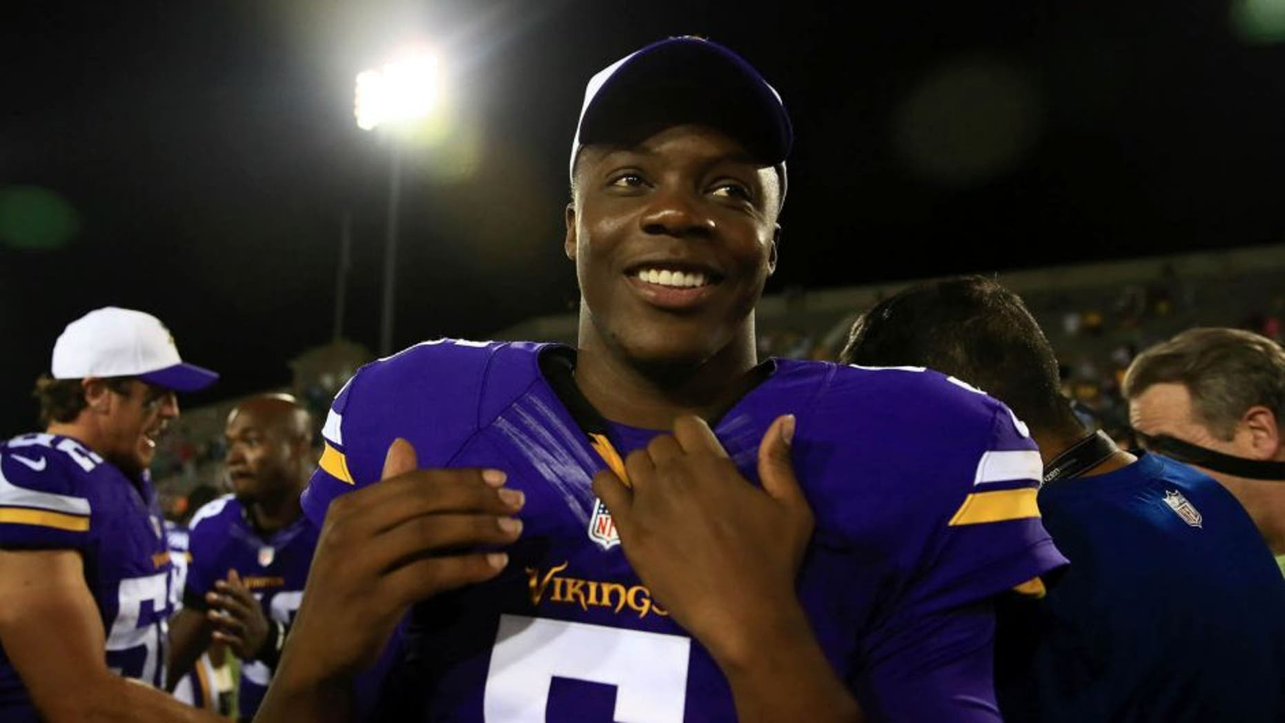 Minnesota Vikings quarterback Teddy Bridgewater walks off the field after defeating the Pittsburgh Steelers 14-3 at Tom Benson Hall of Fame Stadium in Canton, Ohio, on Sunday, August 9, 2015.
