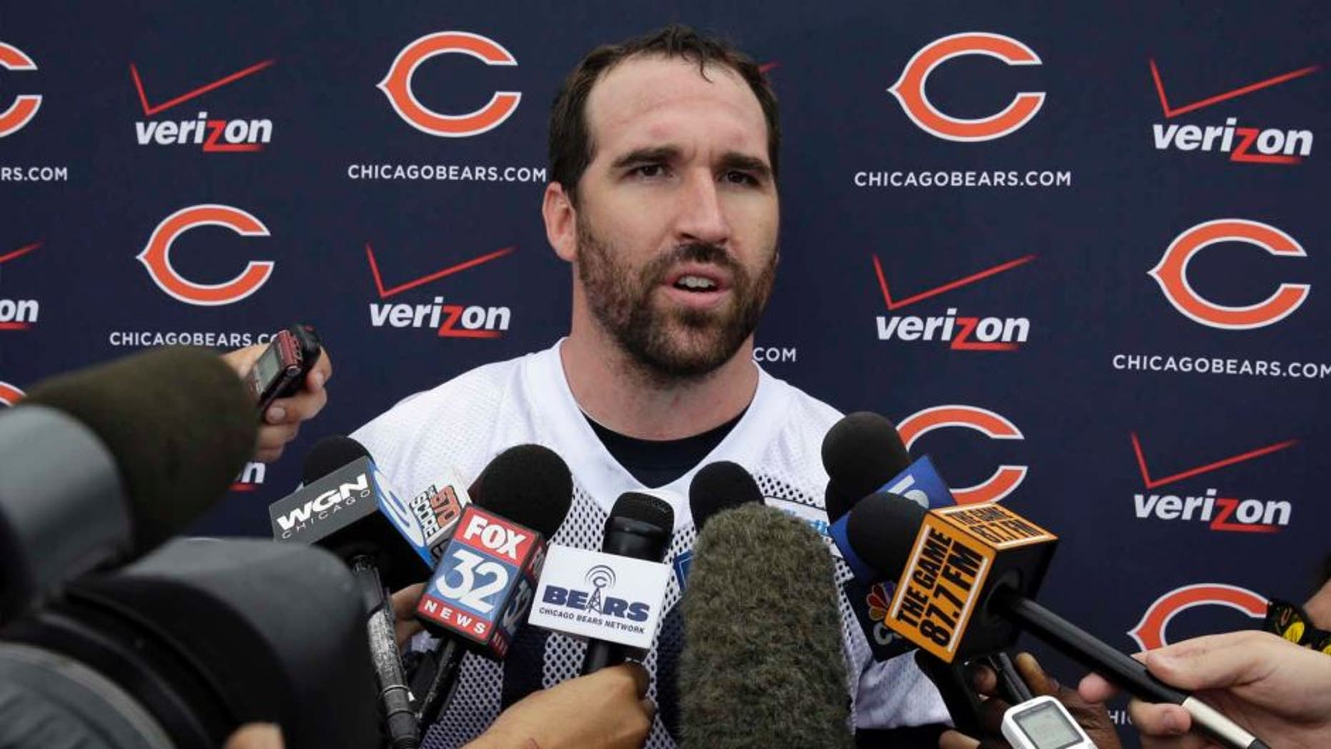 Chicago Bears defensive end Jared Allen (69) talks to the media at a news conference after the team's NFL football training camp at Olivet Nazarene University on Friday, July 25, 2014., in Bourbonnais, Ill.