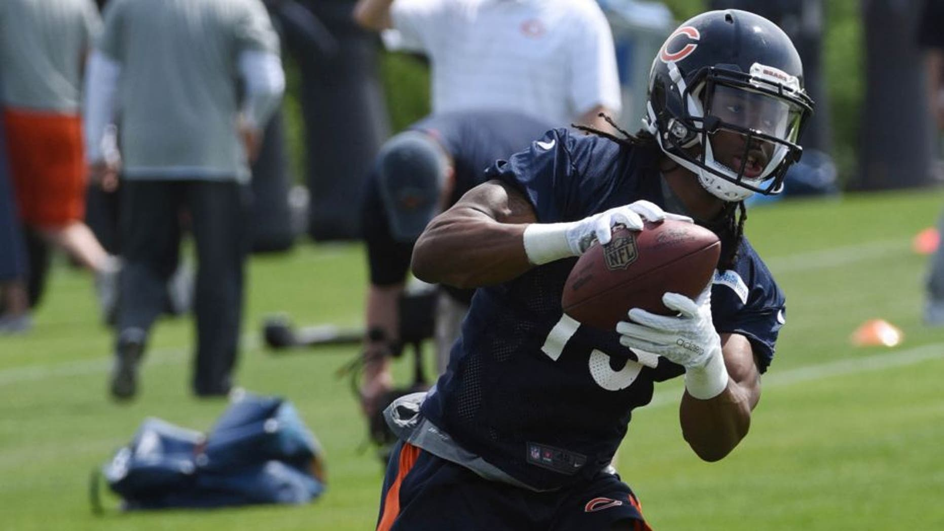 May 8, 2015; Lake Forest, IL, USA; Chicago Bears wide receiver Kevin White (13) during Chicago Bears rookie minicamp at Halas Hall. Mandatory Credit: David Banks-USA TODAY Sports