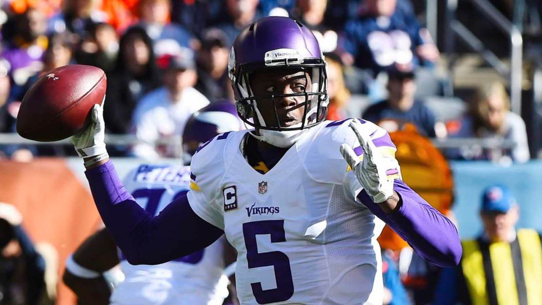 Minnesota Vikings quarterback Teddy Bridgewater throws the ball against the Chicago Bears during the first quarter at Soldier Field in Chicago on Sunday, Nov. 1, 2015.