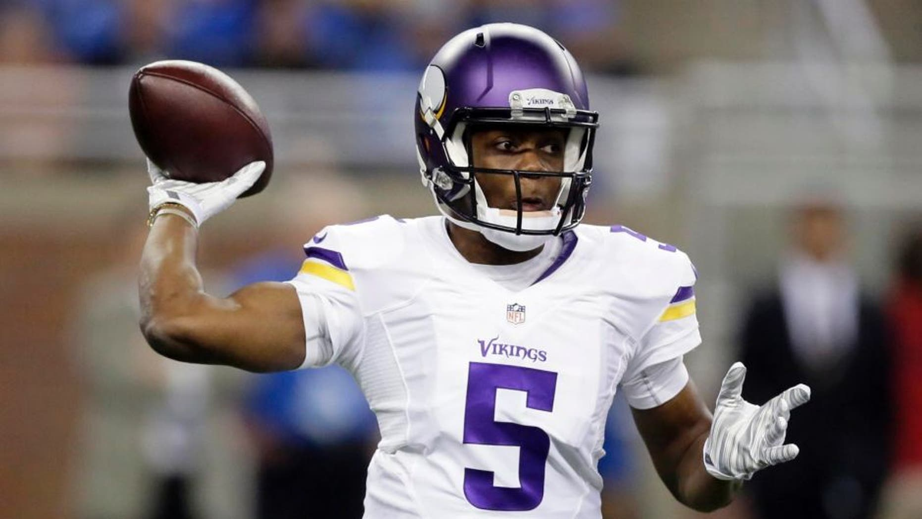 Minnesota Vikings quarterback Teddy Bridgewater throws during the first half against the Detroit Lions.