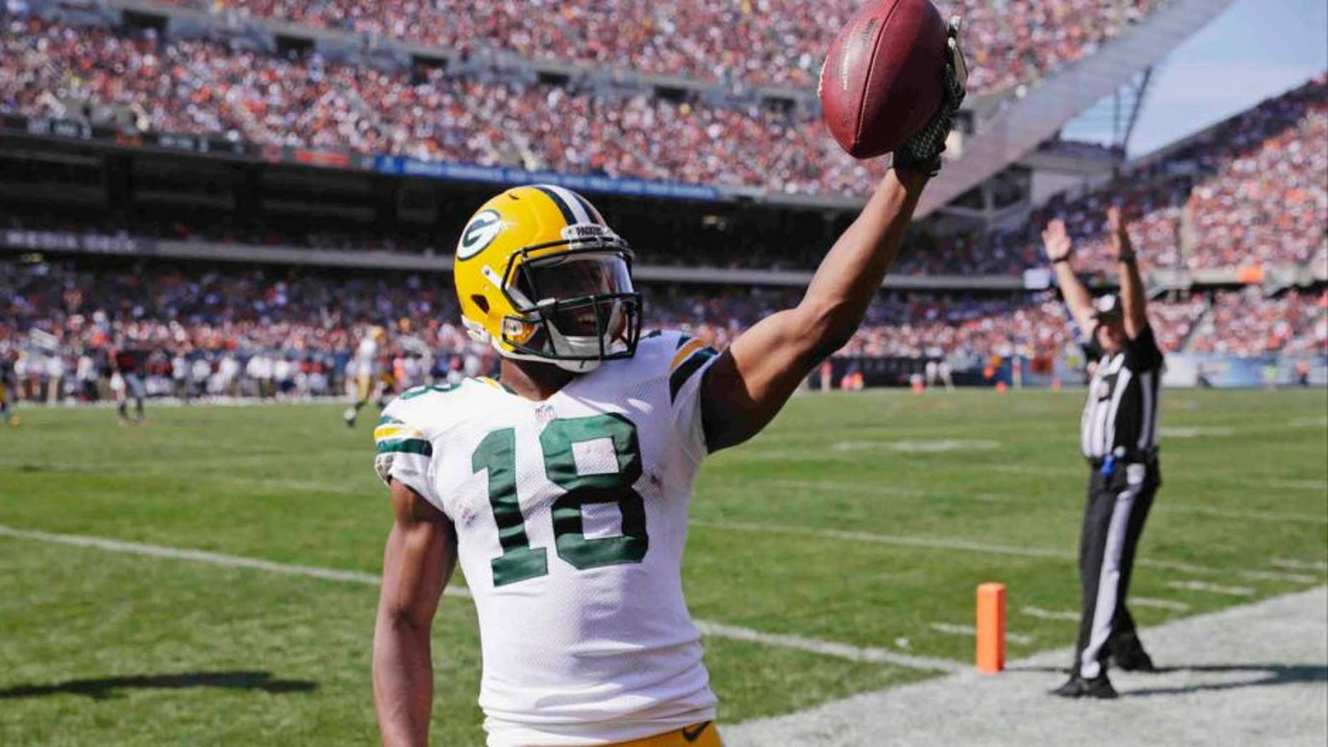 Green Bay Packers wide receiver Randall Cobb celebrates a touchdown in the end zone in the second half against the Chicago Bears.