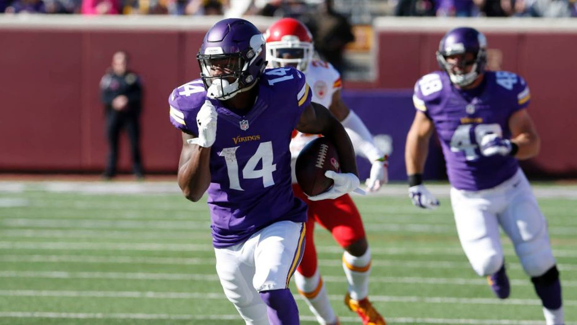 Minnesota Vikings wide receiver Stefon Diggs runs with the ball during the first half against the Kansas City Chiefs on Sunday, Oct. 18, 2015, in Minneapolis. Few knew who Stefon Diggs was when the Vikings grabbed the receiver in the fifth round of the draft. After Sunday's seven-catch, 129-yard performance, coaches, opposing defenses and fantasy owners are going to start taking notice.