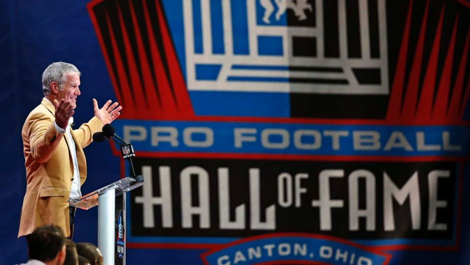 Former NFL quarterback Brett Favre delivers his speech during inductions at the Pro Football Hall of Fame on Saturday, Aug.6, 2016, in Canton, Ohio.