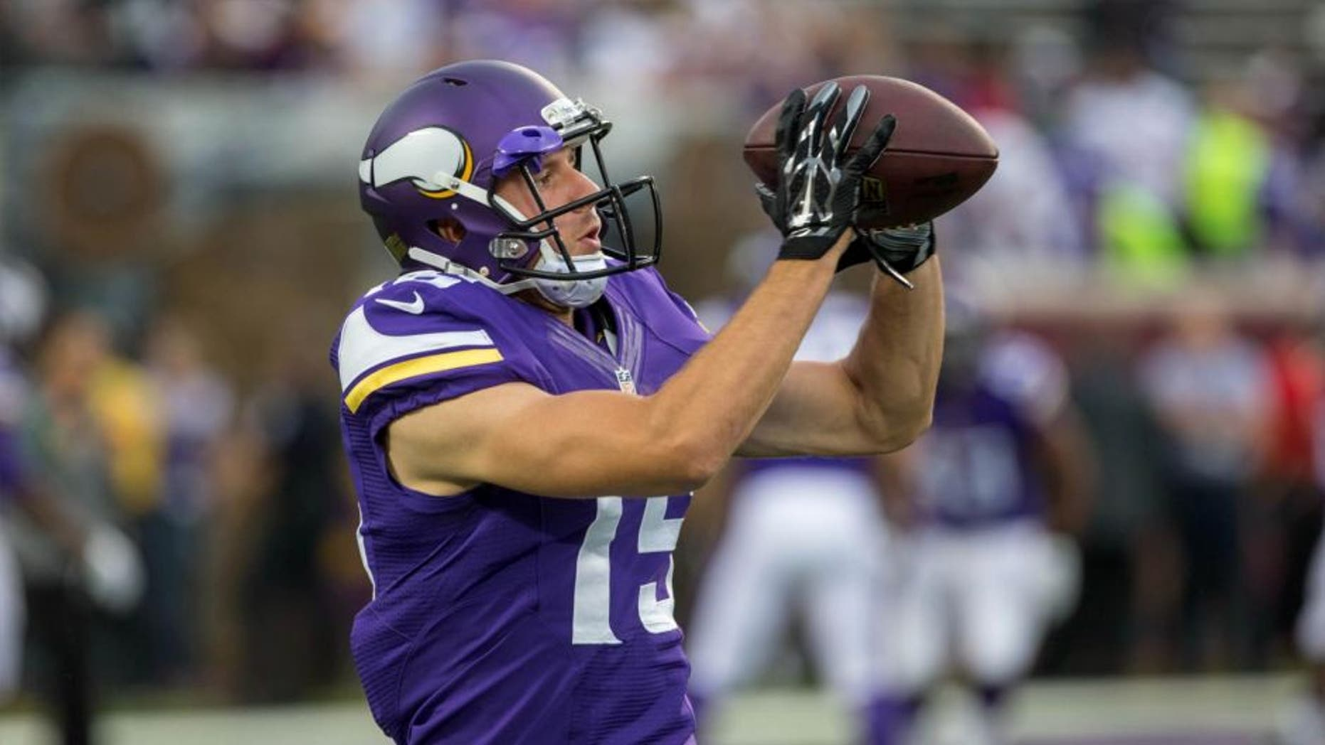 Minnesota Vikings wide receiver Isaac Fruechte catches a pass before the game Aug. 22, 2015, against the Oakland Raiders at TCF Bank Stadium.