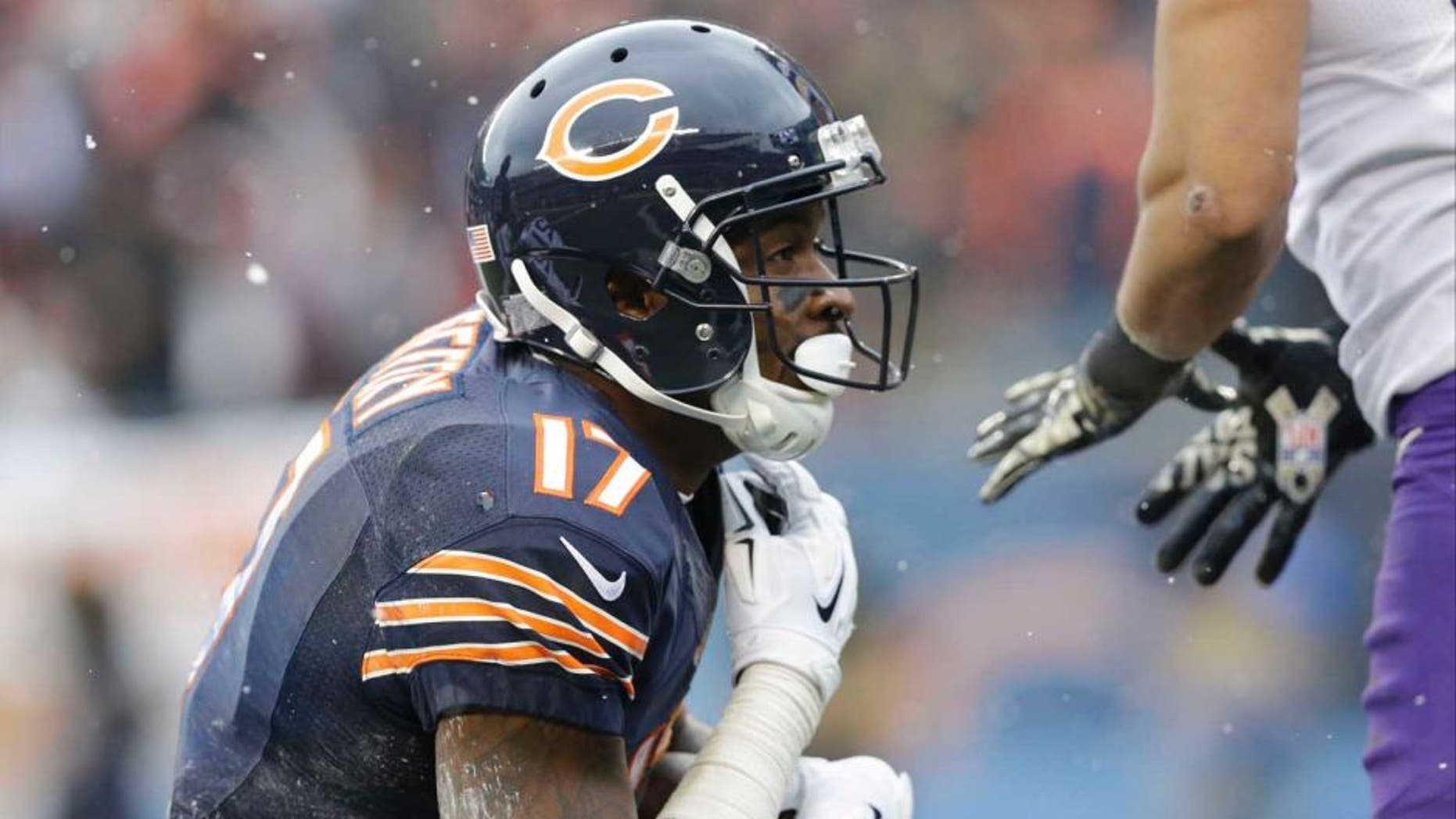 Chicago Bears wide receiver Alshon Jeffery kneels down after catching a touchdown pass during the first half.