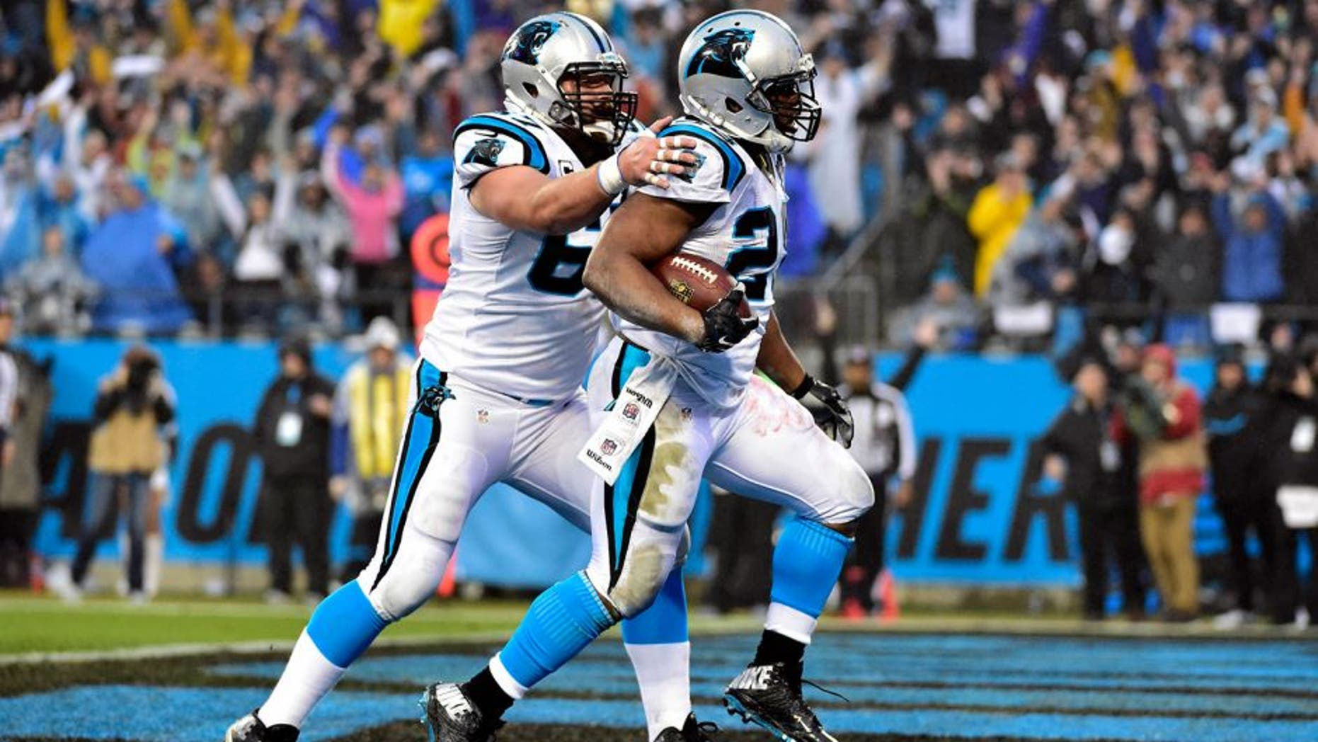 Jan 3, 2015; Charlotte, NC, USA; Carolina Panthers running back Jonathan Stewart (28) celebrates a touchdown with center Ryan Kalil (67) during the first quarter against the Arizona Cardinals in the 2014 NFC Wild Card playoff football game at Bank of America Stadium. Mandatory Credit: Bob Donnan-USA TODAY Sports