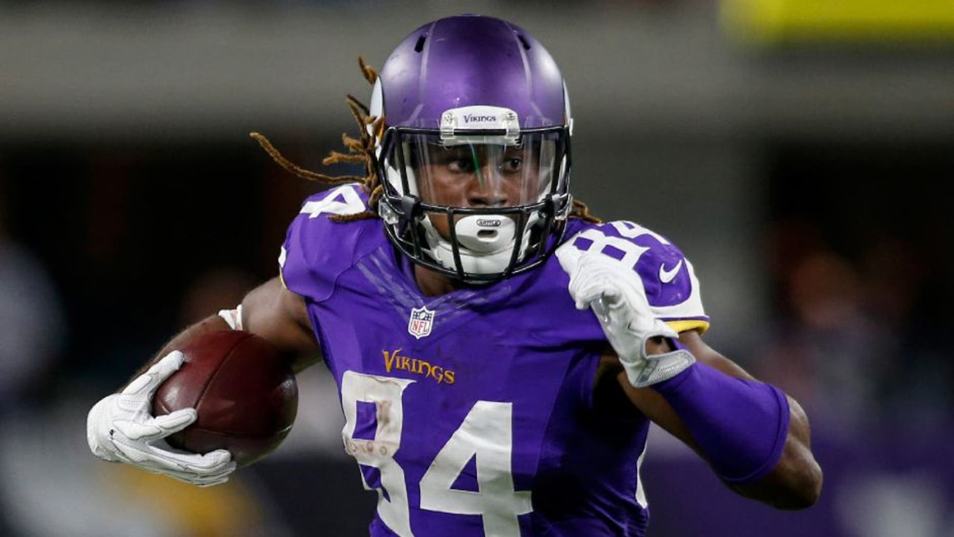 Minnesota Vikings wide receiver Cordarrelle Patterson catches a pass against the New York Giants.