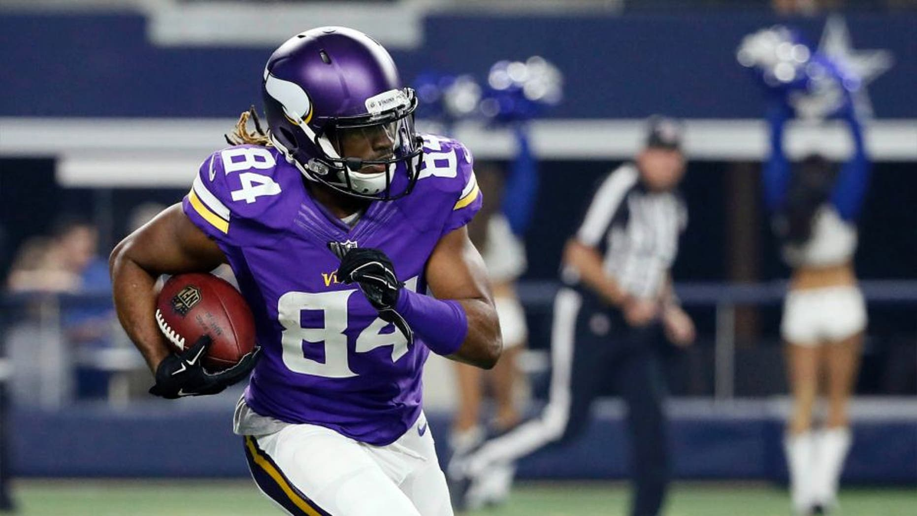 Minnesota Vikings wide receiver Cordarrelle Patterson makes a 107-yard touchdown on a kick-off return against the Dallas Cowboys during the first half of a preseason game Saturday, Aug. 29, 2015, in Arlington, Texas.